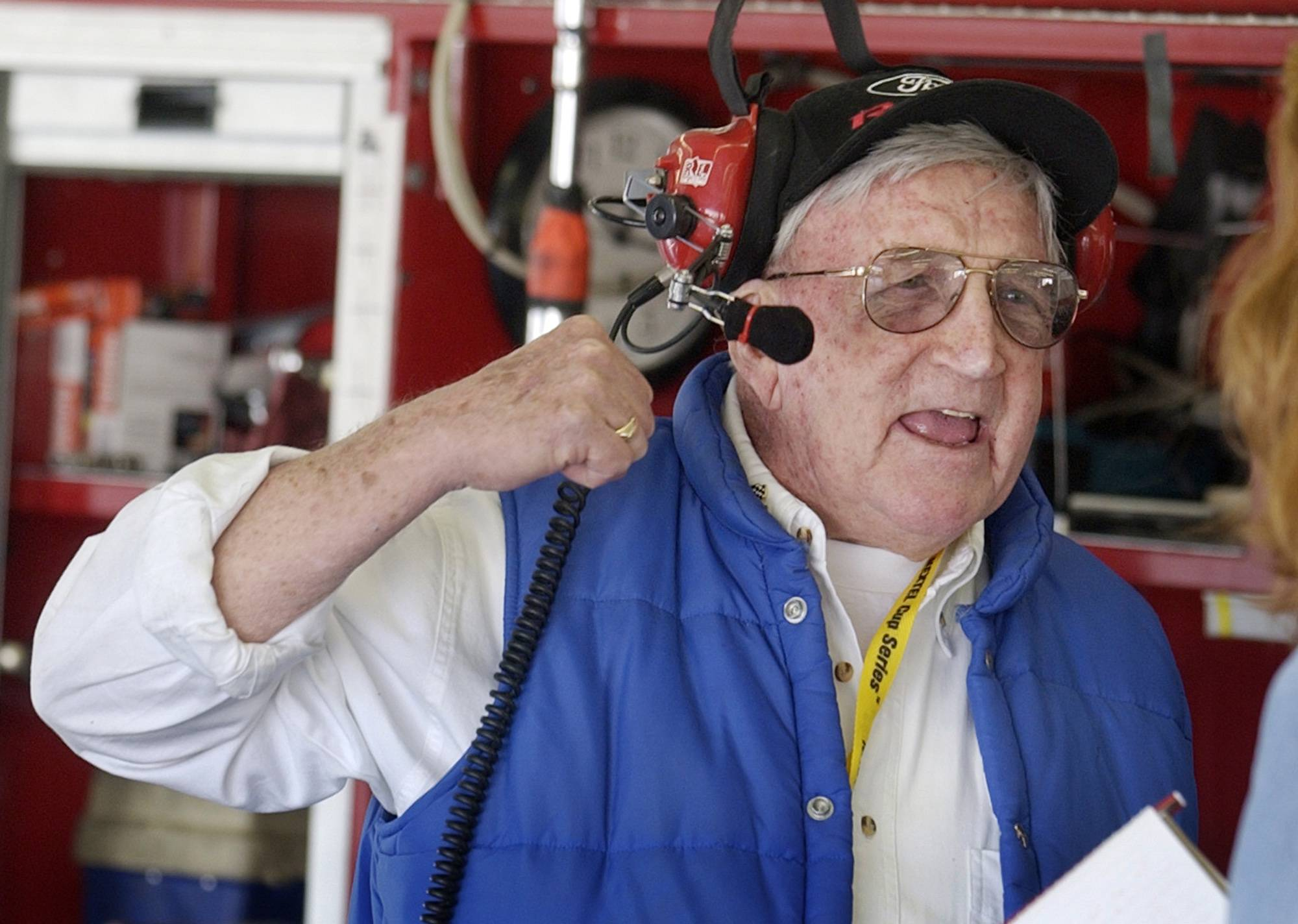 Junie Donlavey makes a point during an interview at Daytona International Speedway in Daytona Beach, Fla.