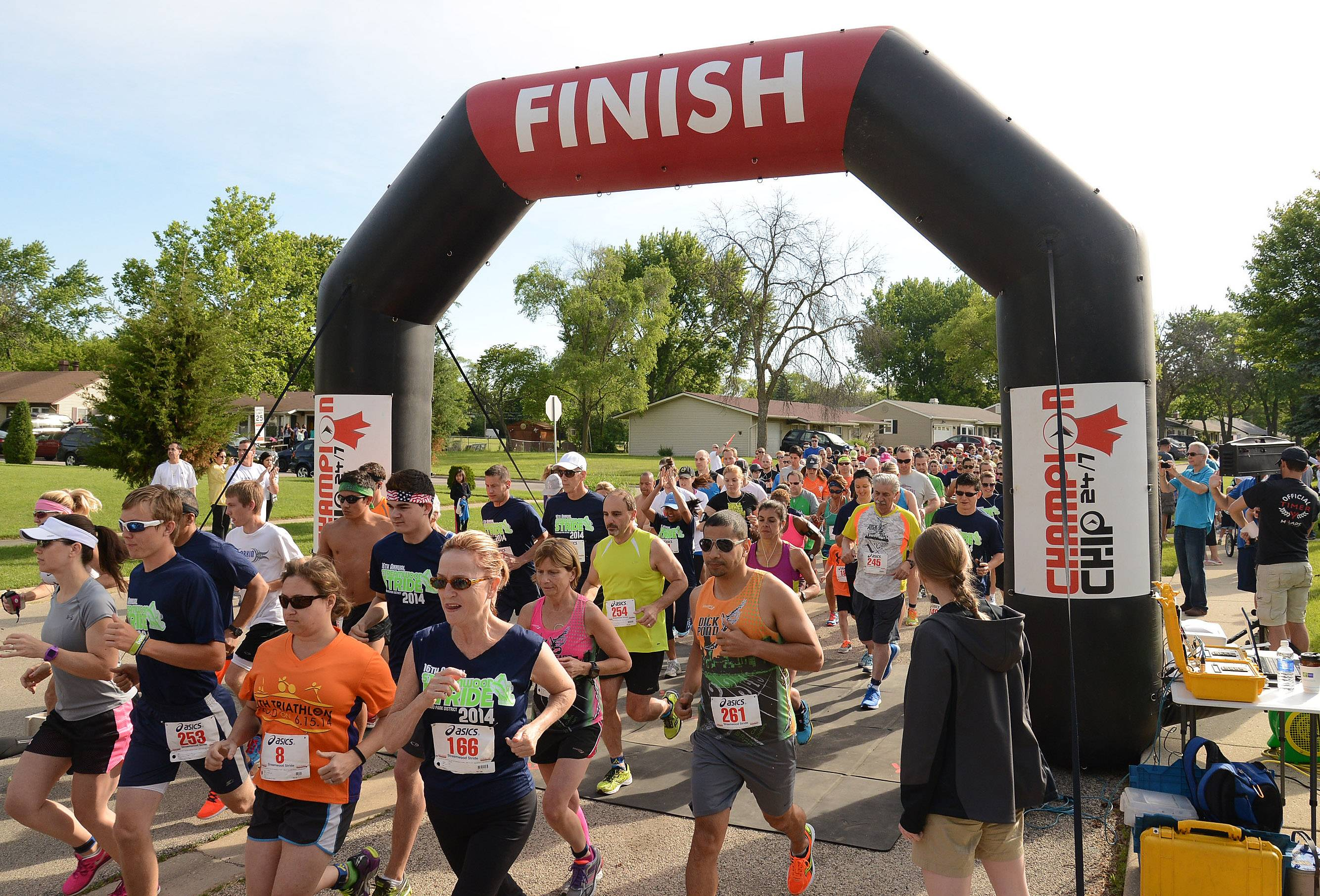 Over 250 runners take to the street at the Streamwood Stride 5K/10K/Fun Run Saturday morning at the Park Place Family Recreation Center.