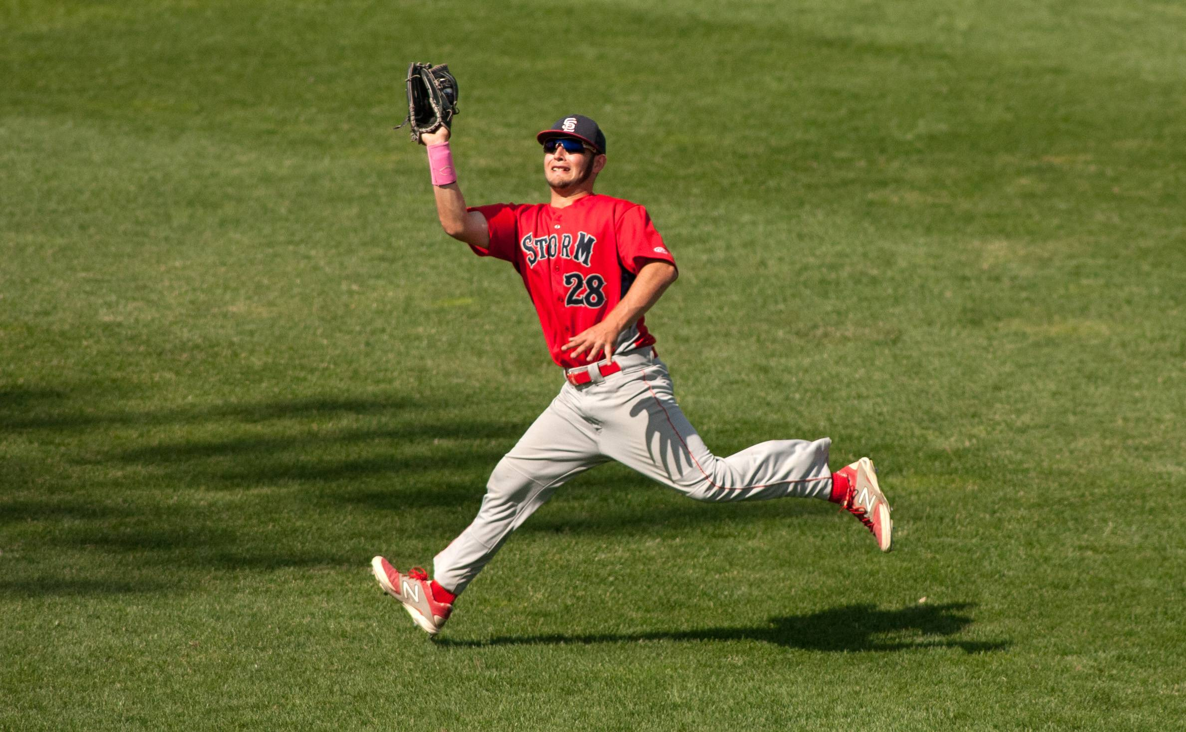 South Elgin outfielder Antonio Danesi makes a running catch against Prairie Ridge during the Class 4A third-place game at Silver Cross Field in Joliet.