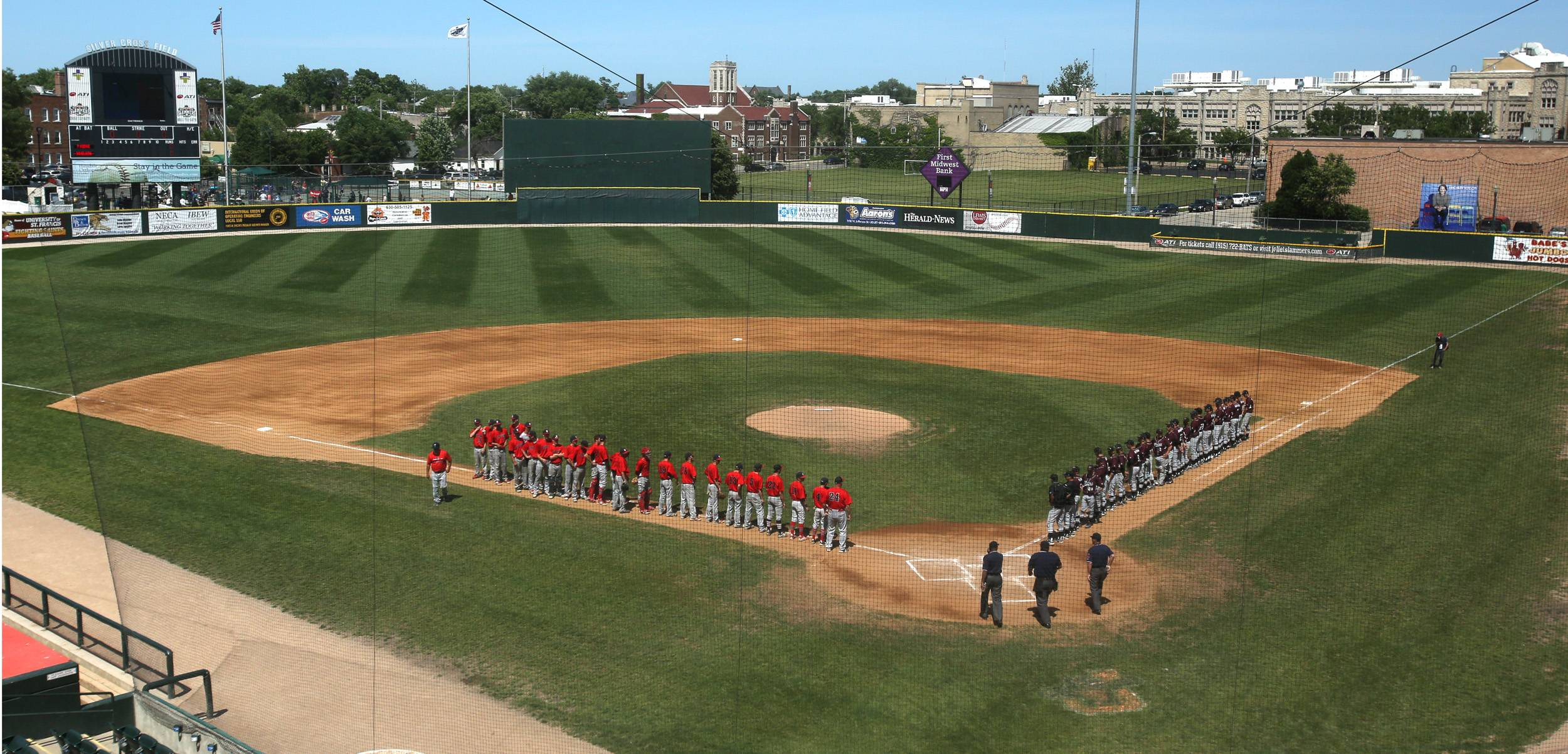 Prairie Ridge and South Elgin lineups are announced before the Class 4A third-place game at Silver Cross Field in Joliet.