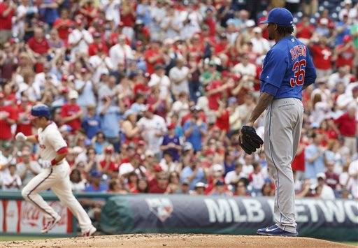 "Edwin Jackson is looking to find his form again. The Cubs right-hander struggled through 4 2-3 innings, giving up Jimmy Rollins' Phillies-record 2,235rd career hit, and Chicago lost 7-4 to Philadelphia on Saturday. Jackson (4-7) allowed seven runs -- six earned -- and eight hits with two strikeouts and two walks. ""I did a bad job of executing my pitches,"" he said."