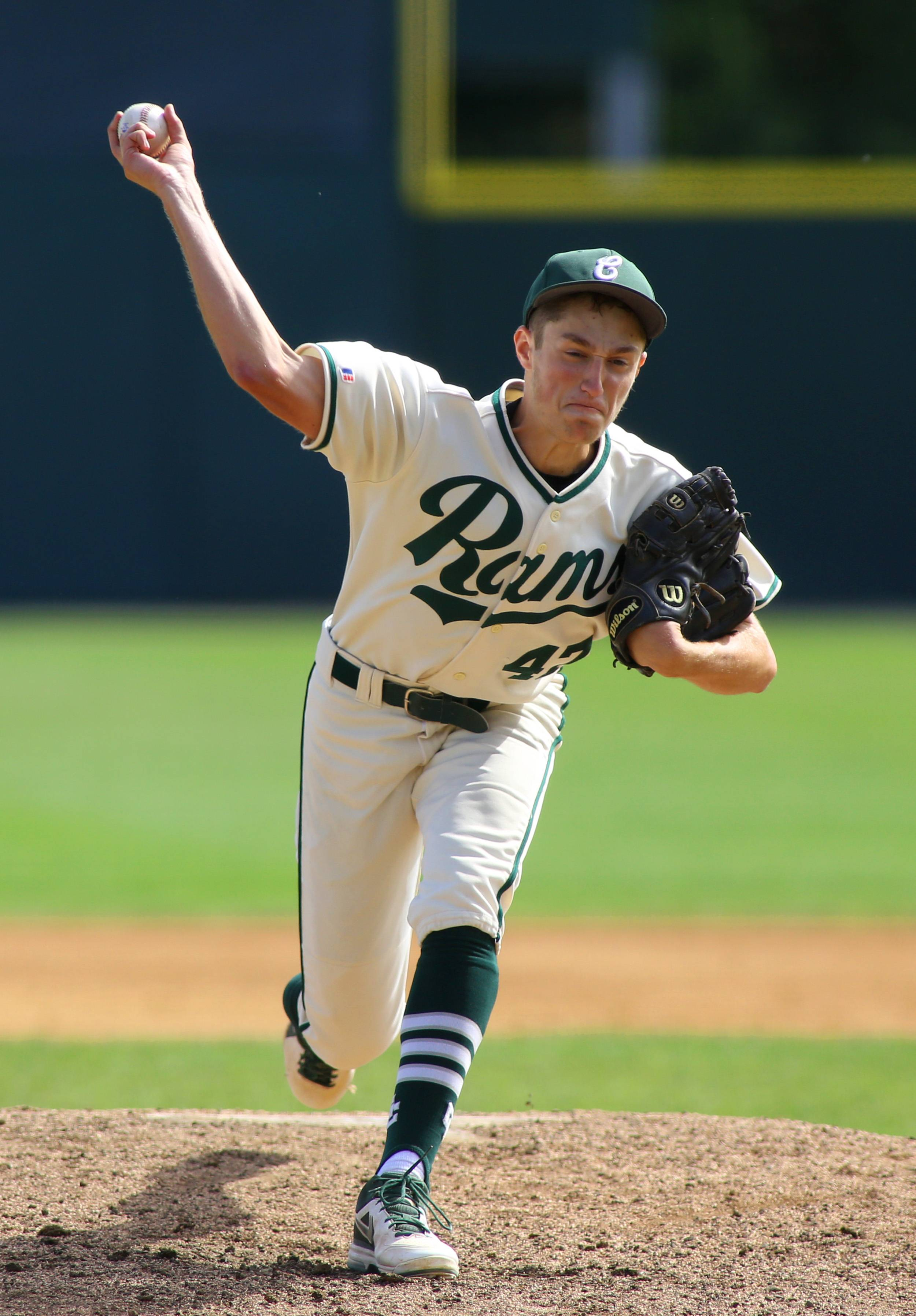 Grayslake Central's Russell Lundius delivers a second-inning pitch against Metamora during the Class 3A baseball tournament consolation game at Silver Cross Field in Joliet.