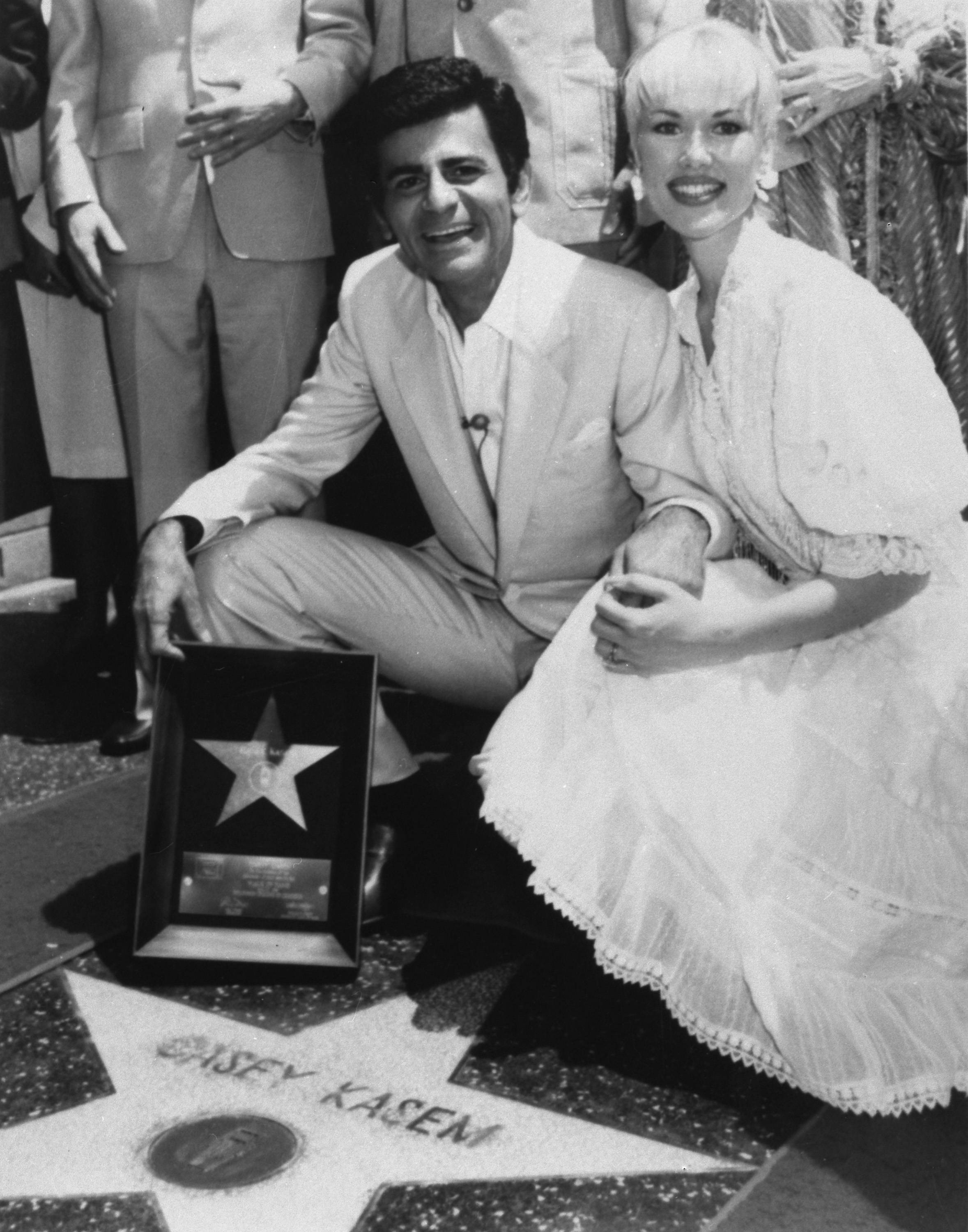 "In this April 27, 1981, file photo, Casey Kasem, with his wife Jean, receives his own ""Star"" on the Hollywood Walk of Fame in Los Angeles."