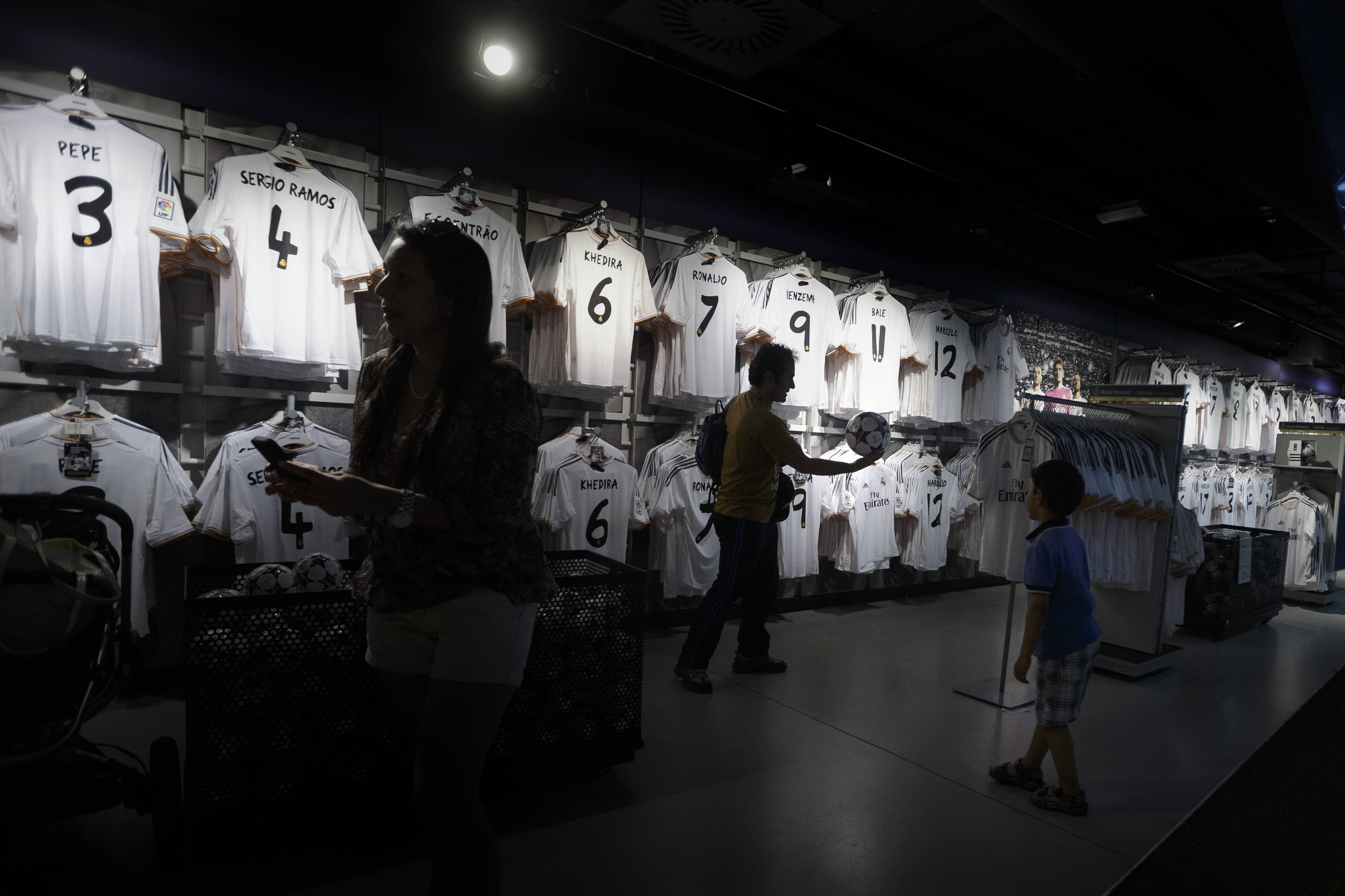 Inside the official Real Madrid shop of the Santiago Bernabeu stadium in Madrid, Spain. The European Union is investigating whether government loan guarantees for seven soccer clubs violate EU competition law.