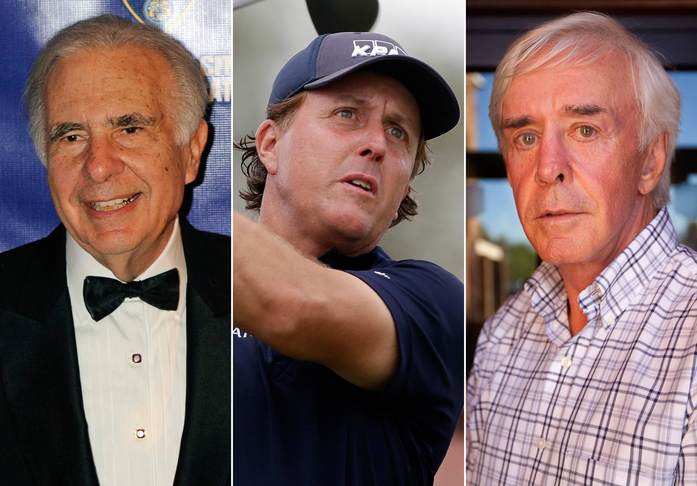 This combo made from file photos shows, from left, financier Carl Icahn, pro golfer Phil Mickelson, and developer and high-profile sports better Billy Walters. A federal official briefed on the investigation told The Associated Press that the FBI and Securities and Exchange Commission are looking at stock trades that Mickelson and Walters made involving Clorox when Icahn was attempting to take over the company. There have been no charges filed against the three men and the investigation could lead to nothing.
