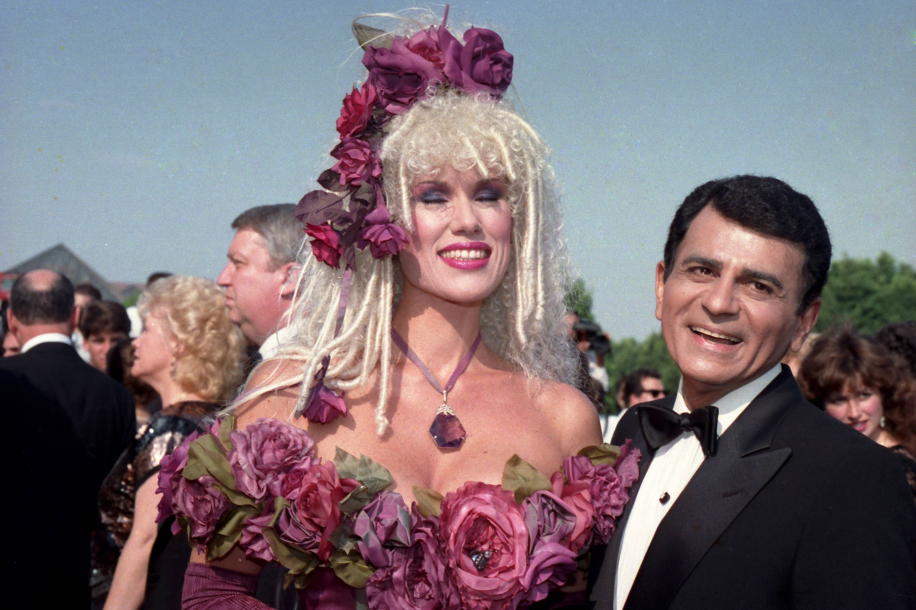 In this Sept. 20, 1987, file photo, Casey Kasem, along with his wife Jean Kasem, arrives at the Emmy Awards in Los Angeles. Kasem, the smooth-voiced radio broadcaster who became the king of the top 40 countdown, died Sunday.