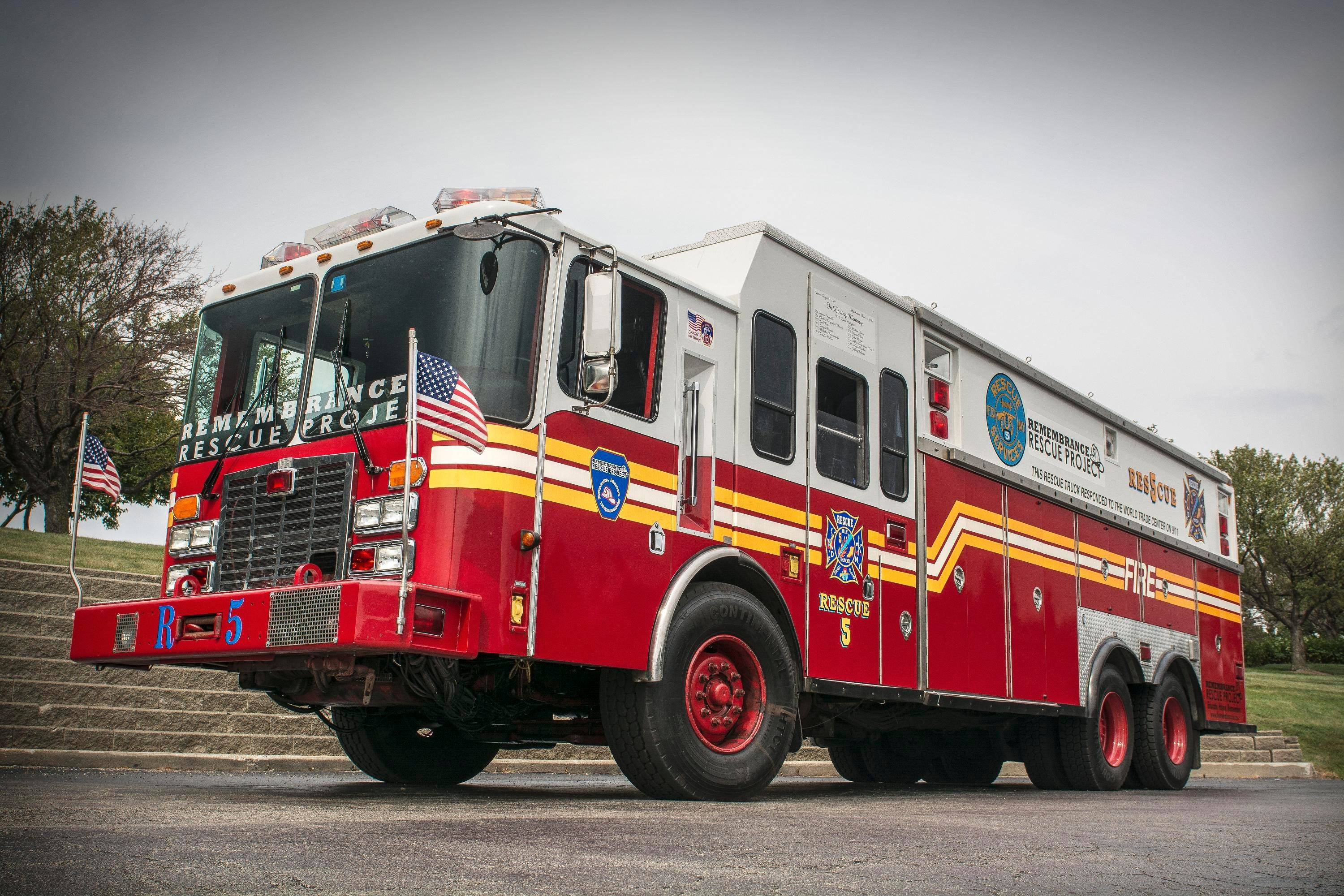 One of the fire trucks driven to the World Trade Center on Sept. 11 will be at the Randhurst Village Cruise Night. The Schaumburg-based Remembrance Rescue Project purchased and restored this truck after it was taken out of service.