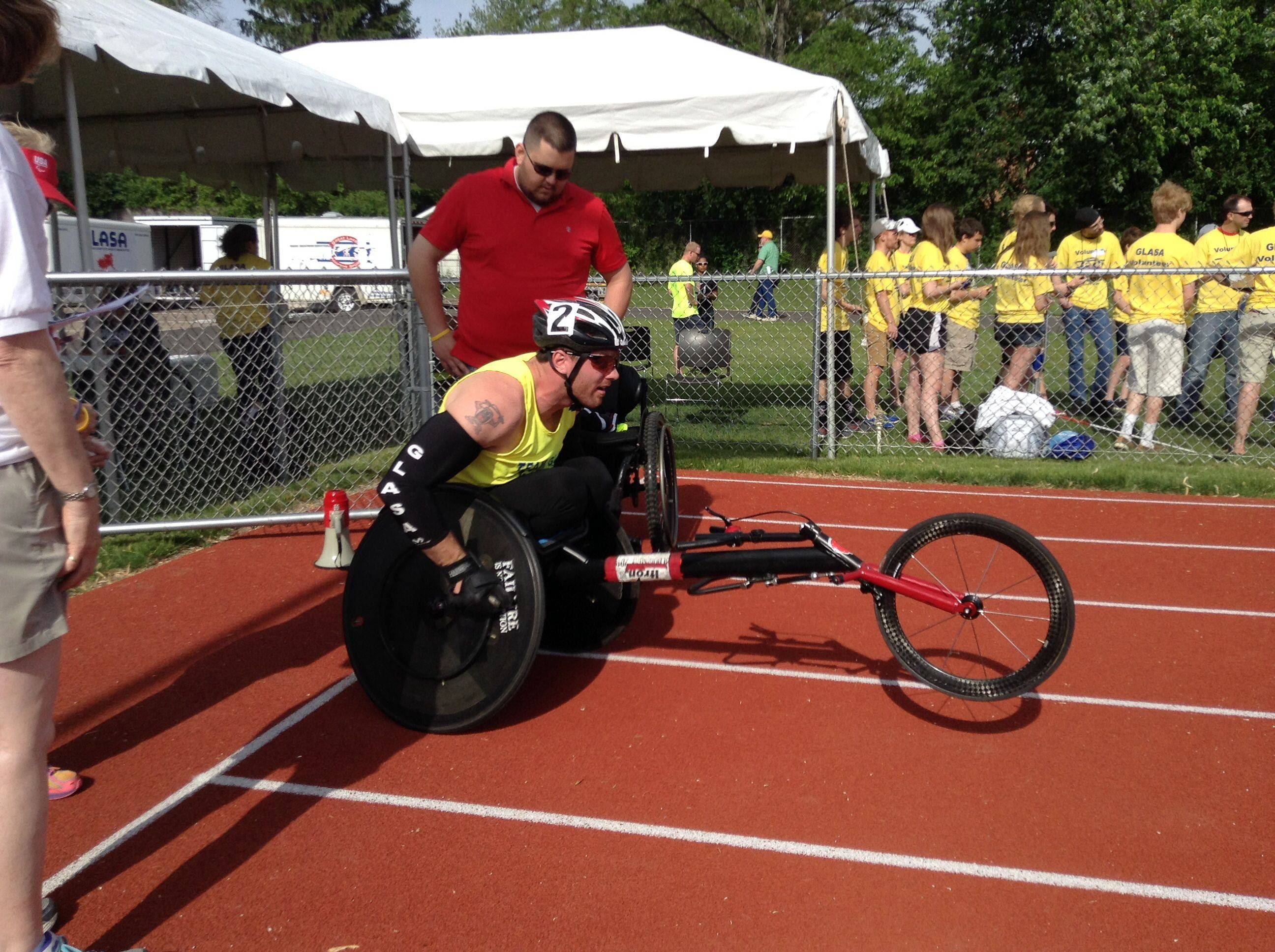 Bob Swanson of Round Lake prepares to compete at the Great Lakes Adaptive Sports Association regional games at Lake Forest High School Sunday.