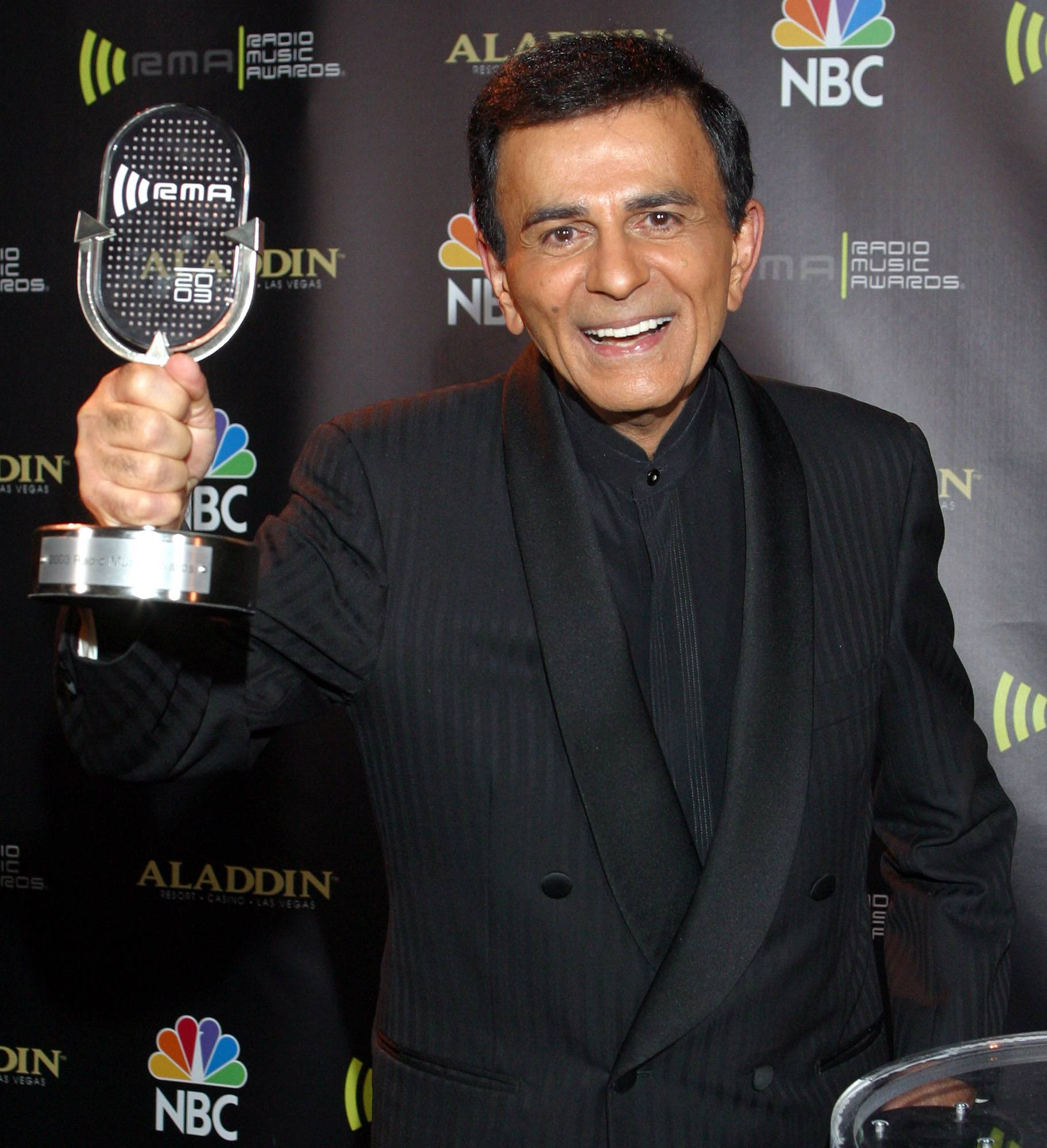 In this Oct. 27, 2003, file photo, Casey Kasem received the Radio Icon award during The 2003 Radio Music Awards at the Aladdin Resort and Casino in Las Vegas. Kasem, the smooth-voiced radio broadcaster who became the king of the top 40 countdown, died Sunday.
