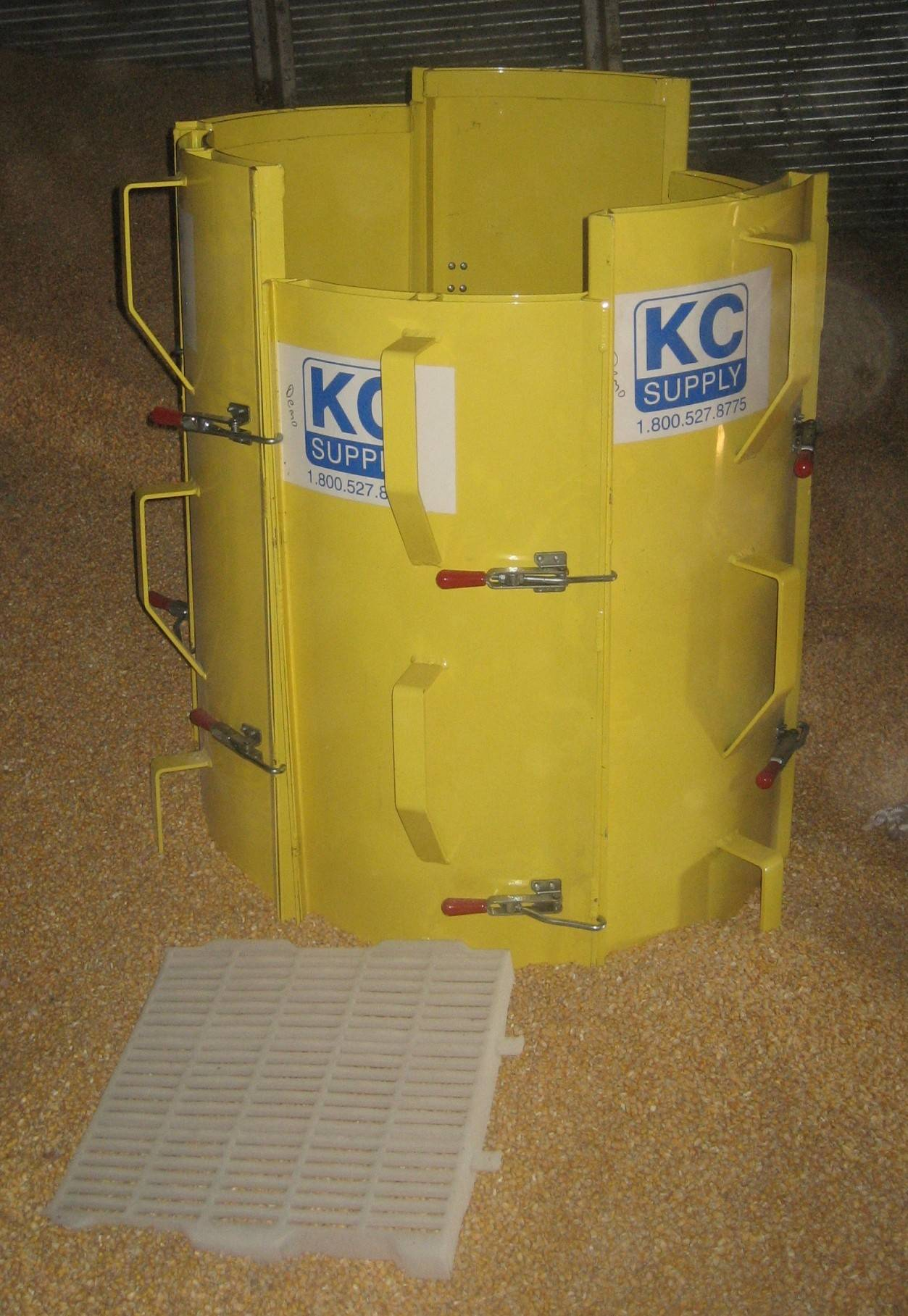 The Kane County Farm Bureau is having a fundraiser to buy a grain rescue tube such as this one. It is made of six panels that are placed around a trapped victim. The panels are then locked together, and the grain inside is removed so the victim can be lifted out.