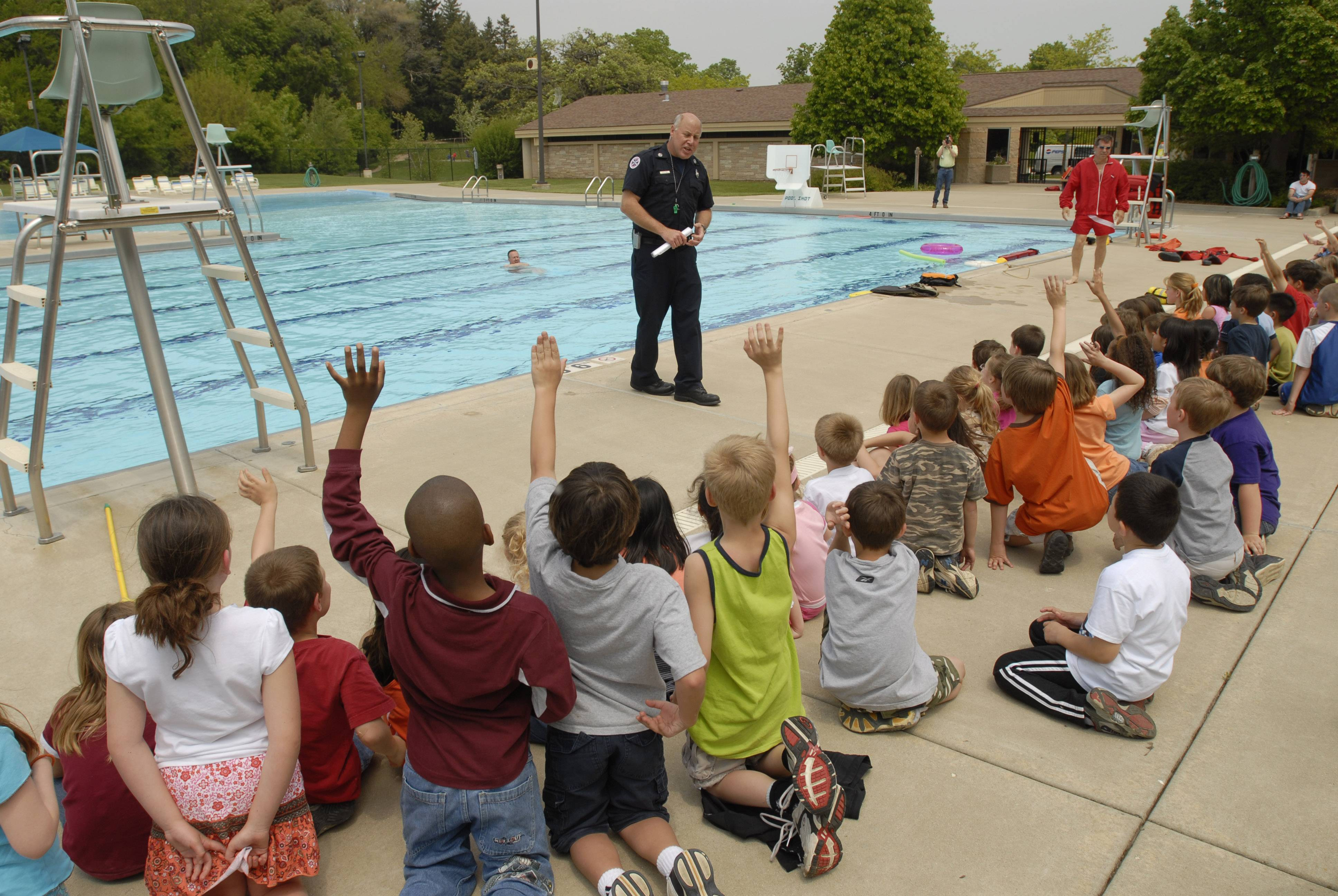 Students get a lesson in pool safety from a Libertyville firefighter/paramedic. Drowning is the leading cause of injury-related death among 1- to 4-year-olds.