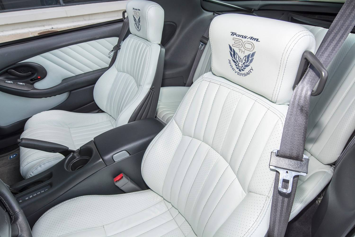 The white leather seats in the Trans Am are a considerable upgrade over the upholstery in the original 1969 models.