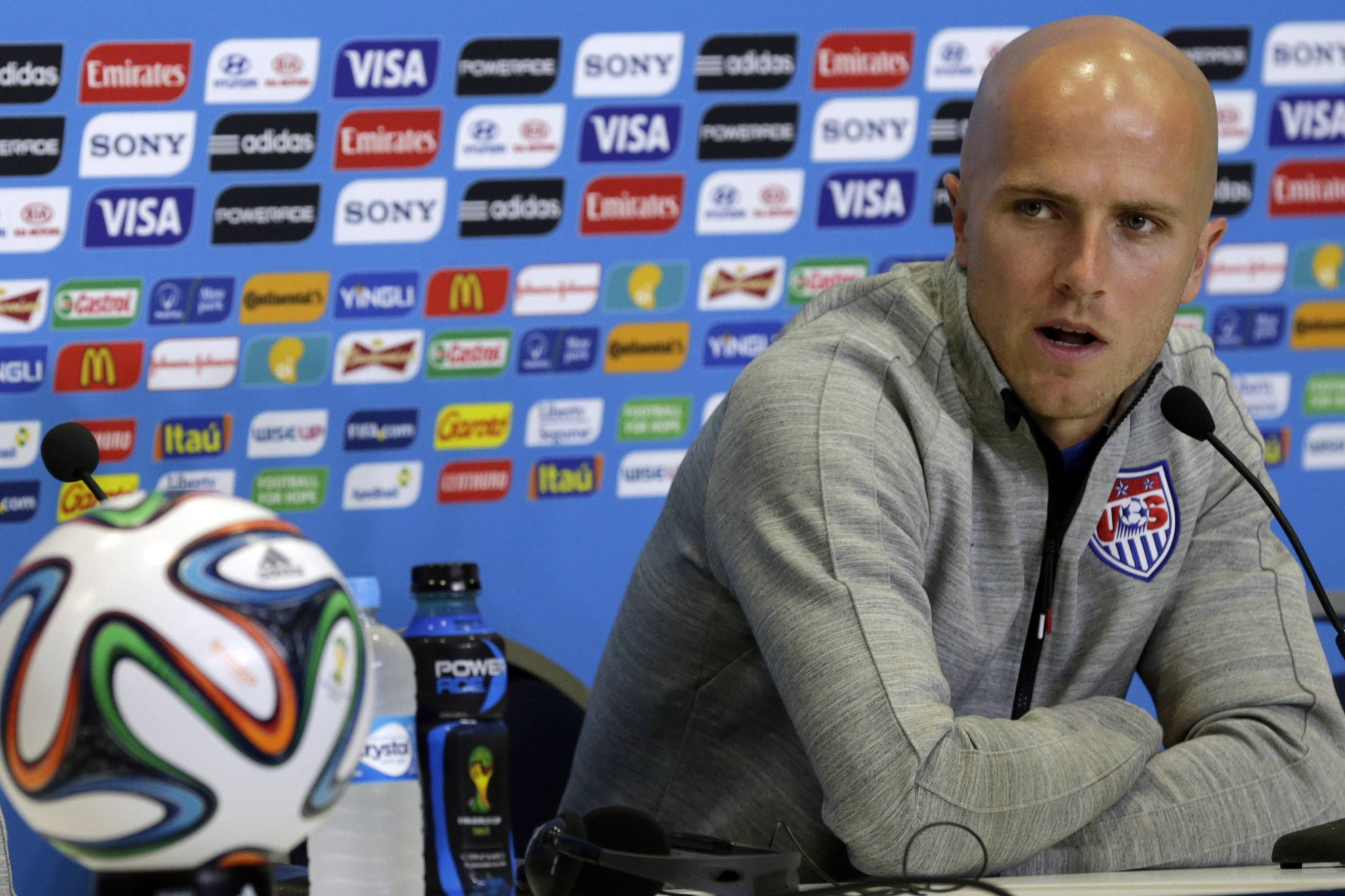 United States' Michael Bradley attends a news conference Sunday before an official team training session. The U.S. will play Ghana at 5 p.m. today as part of group G at the World Cup in Natal, Brazil. Bradley is one of the five players to watch on the U.S. squad, according to sports writer Orrin Schwarz.