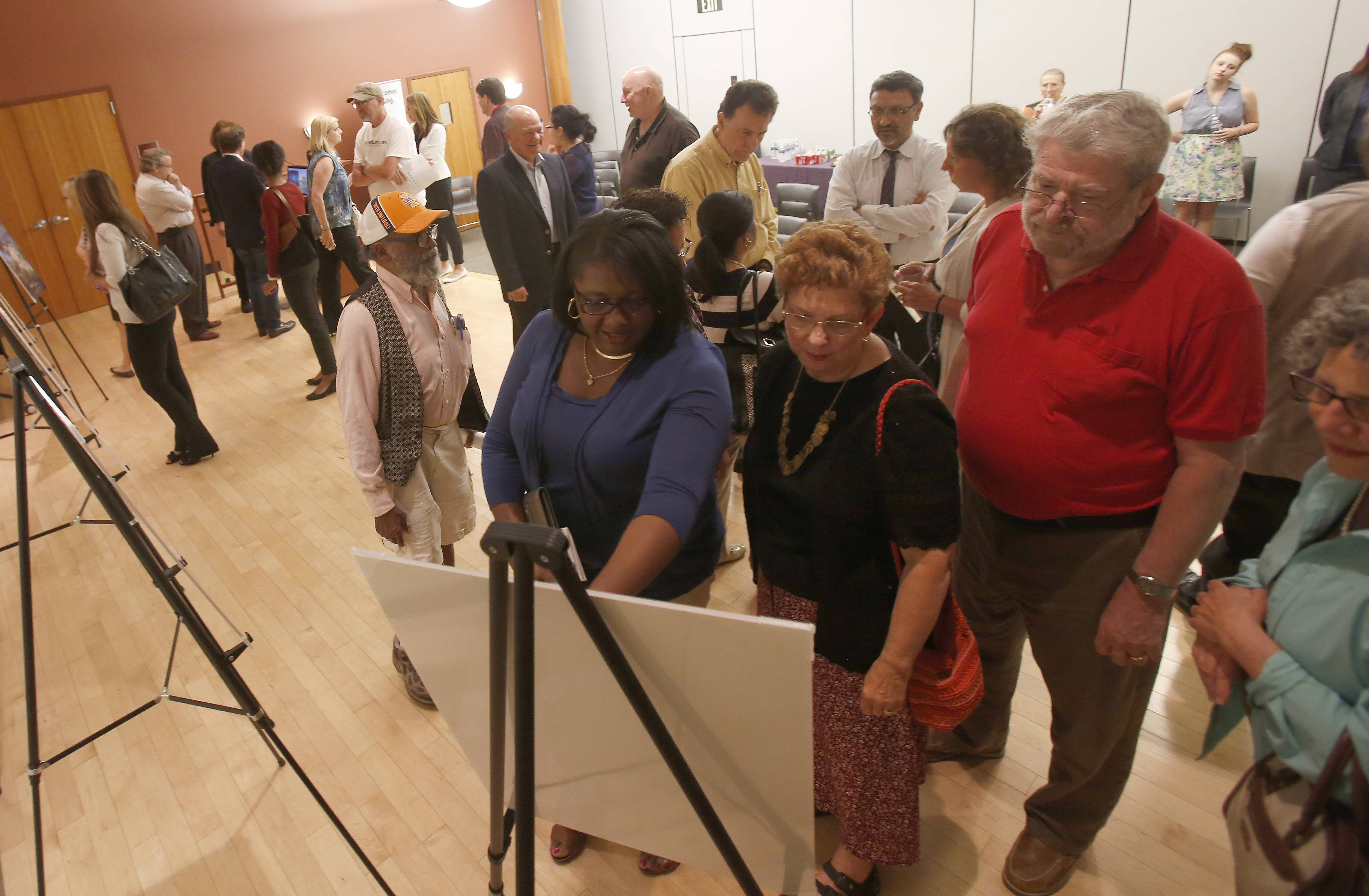 People look over the new ads for ELGINSTEAD campaign during the HOPE Fair Housing launch party for the Elginstead ad campaign Thursday at Gail Borden Public in Elgin.