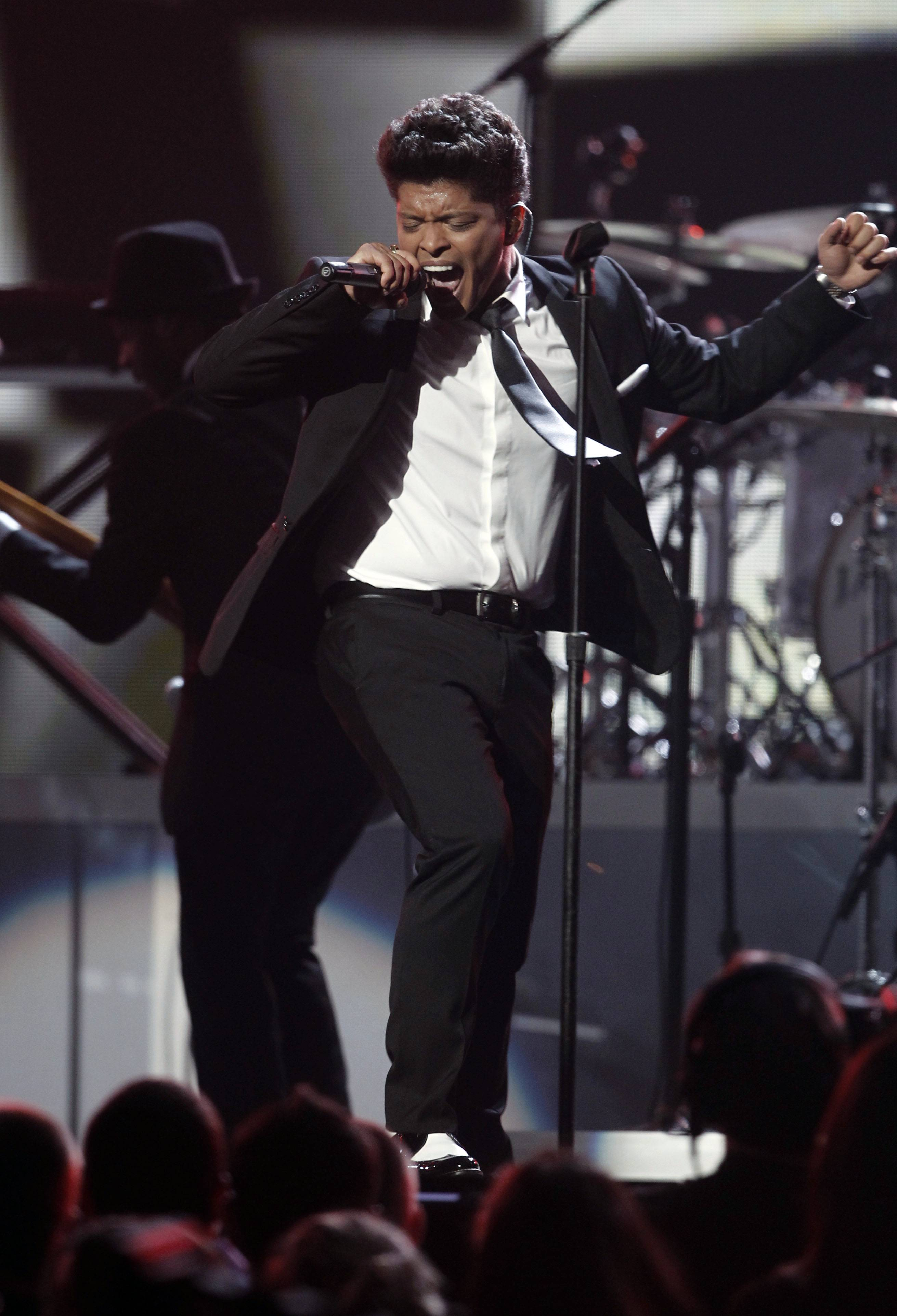 Bruno Mars performs at the 53rd annual Grammy Awards on Sunday, Feb. 13, 2011, in Los Angeles. (AP Photo/Matt Sayles)