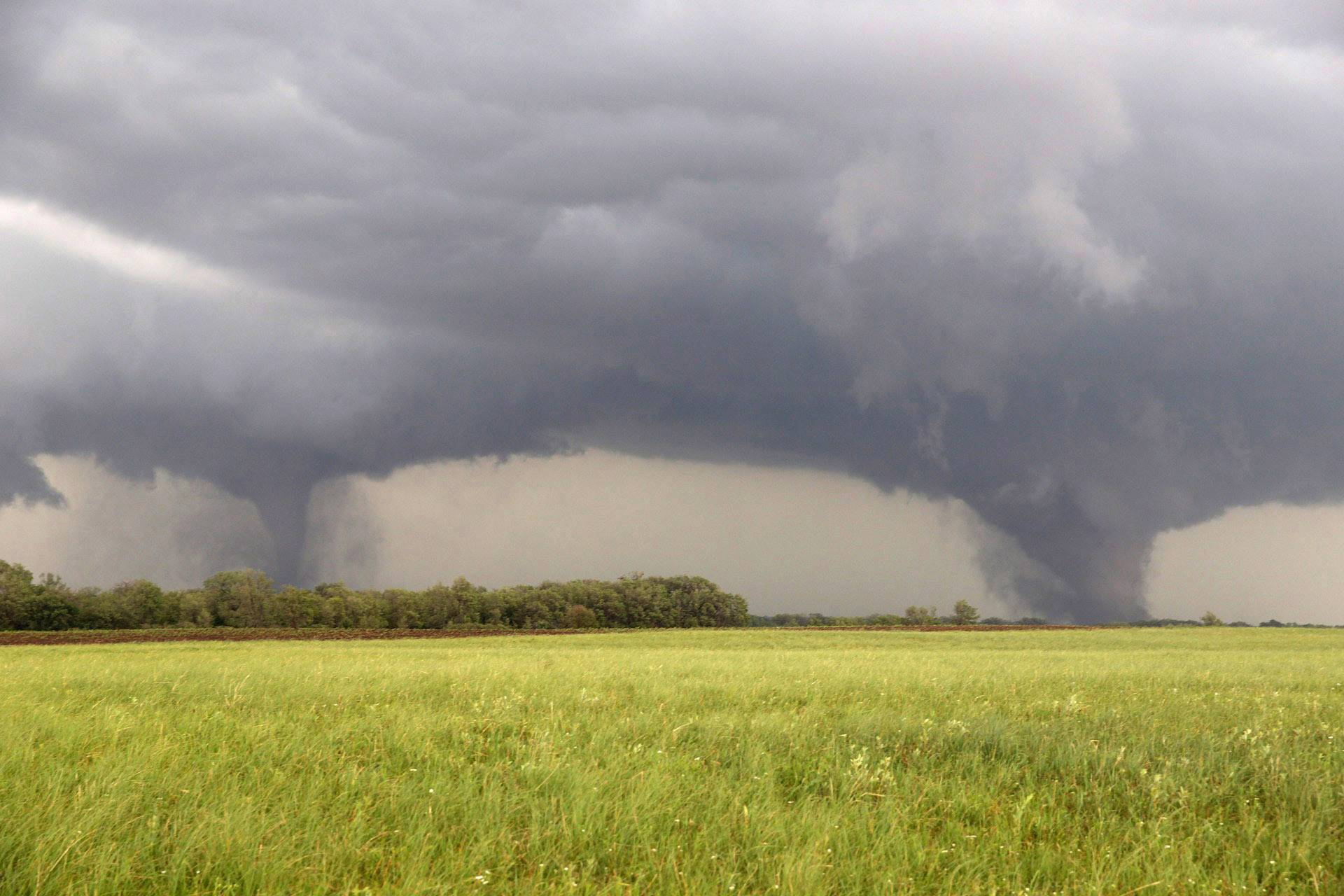 Two tornadoes approach Pilger, Neb., Monday June 16, 2014. The National Weather Service said at least two twisters touched down within roughly a mile of each other Monday in northeast Nebraska.