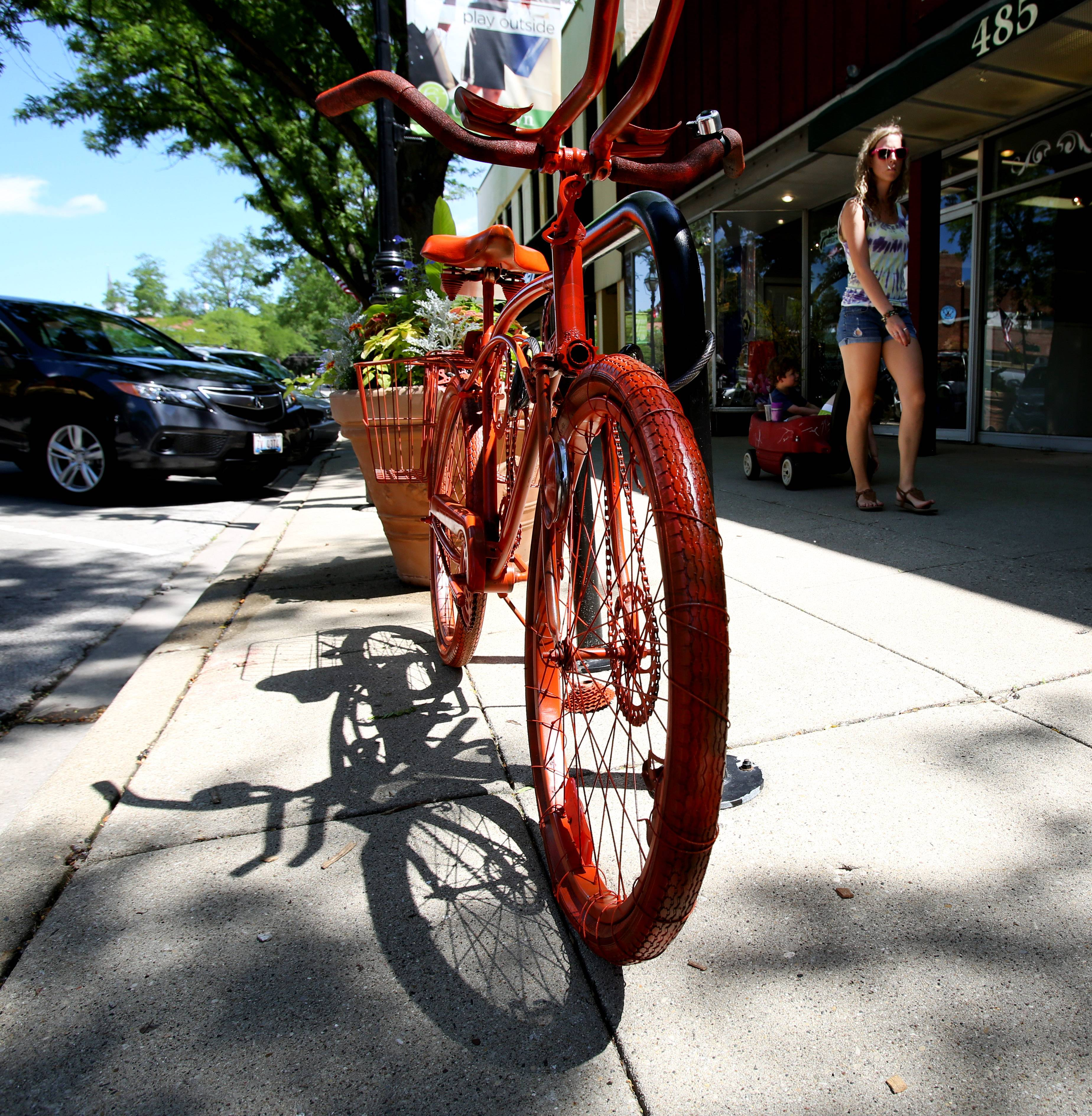 A new public art exhibit celebrating biking is on display for the next month in Glen Ellyn.