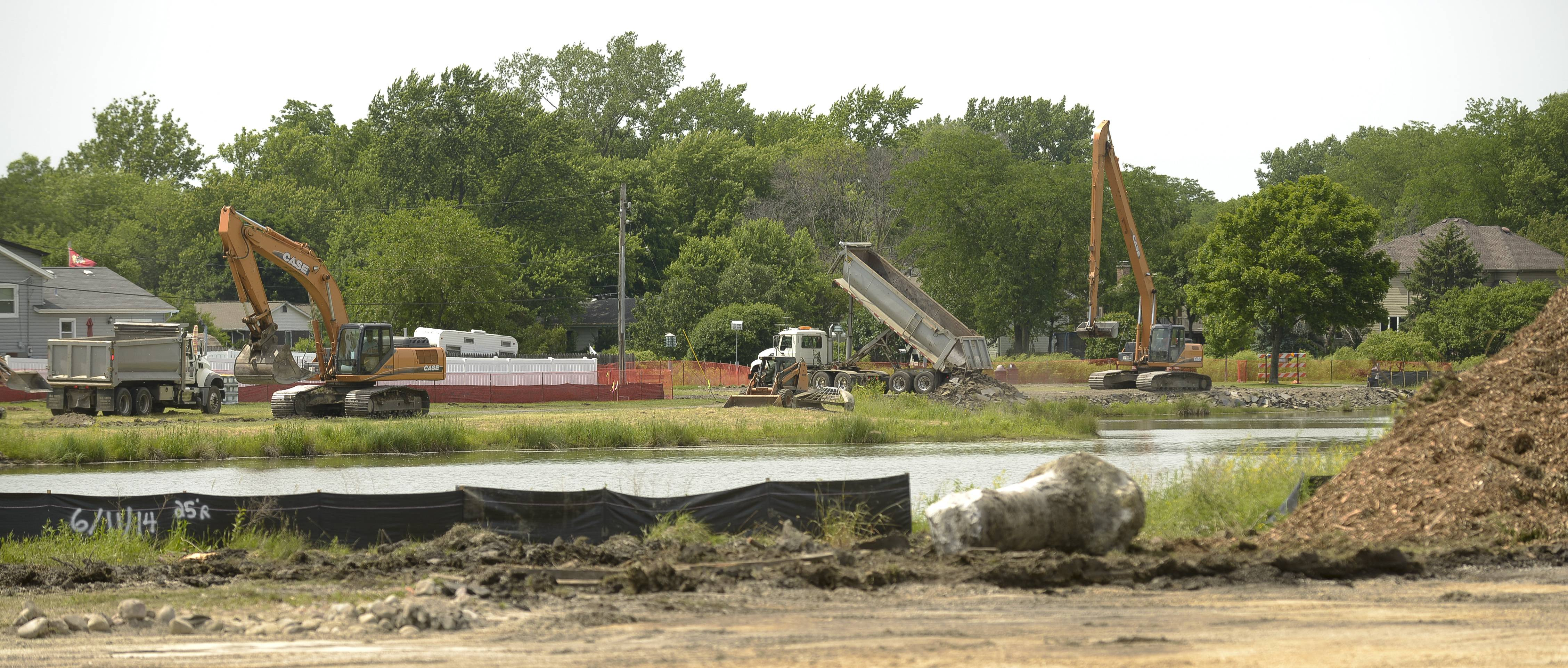 Construction has begun on a $12.5 million flood-relief project at Armstrong Park in Carol Stream. The work is expected to continue until next spring.