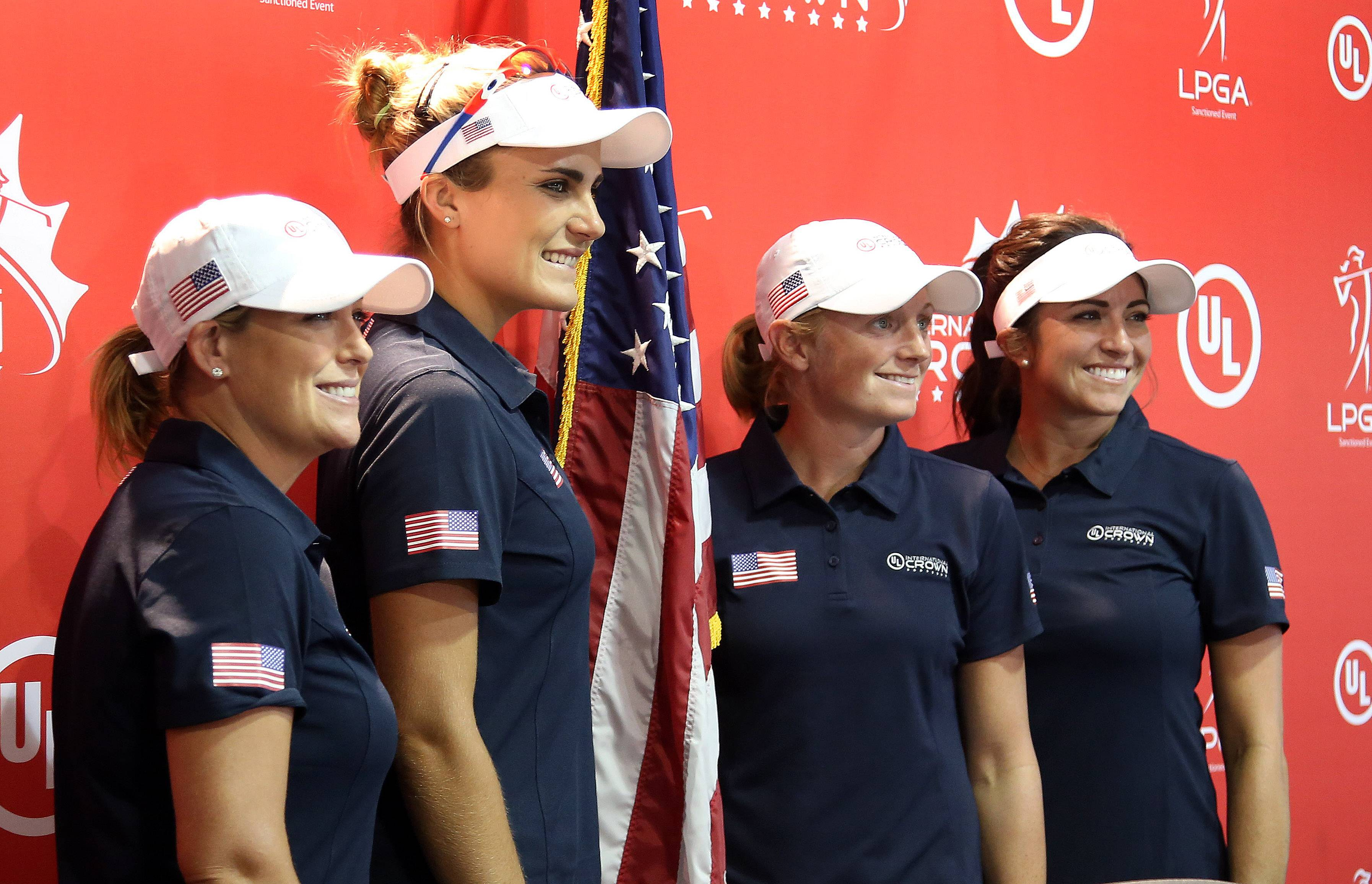 The U.S. team of Christie Kerr, from left. Lexi Thompson, Stacy Lewis an Gerina Piller pose for a picture during a news conference after Tuesday's practice round for the UL International Crown at the Merit Club in Gurnee.