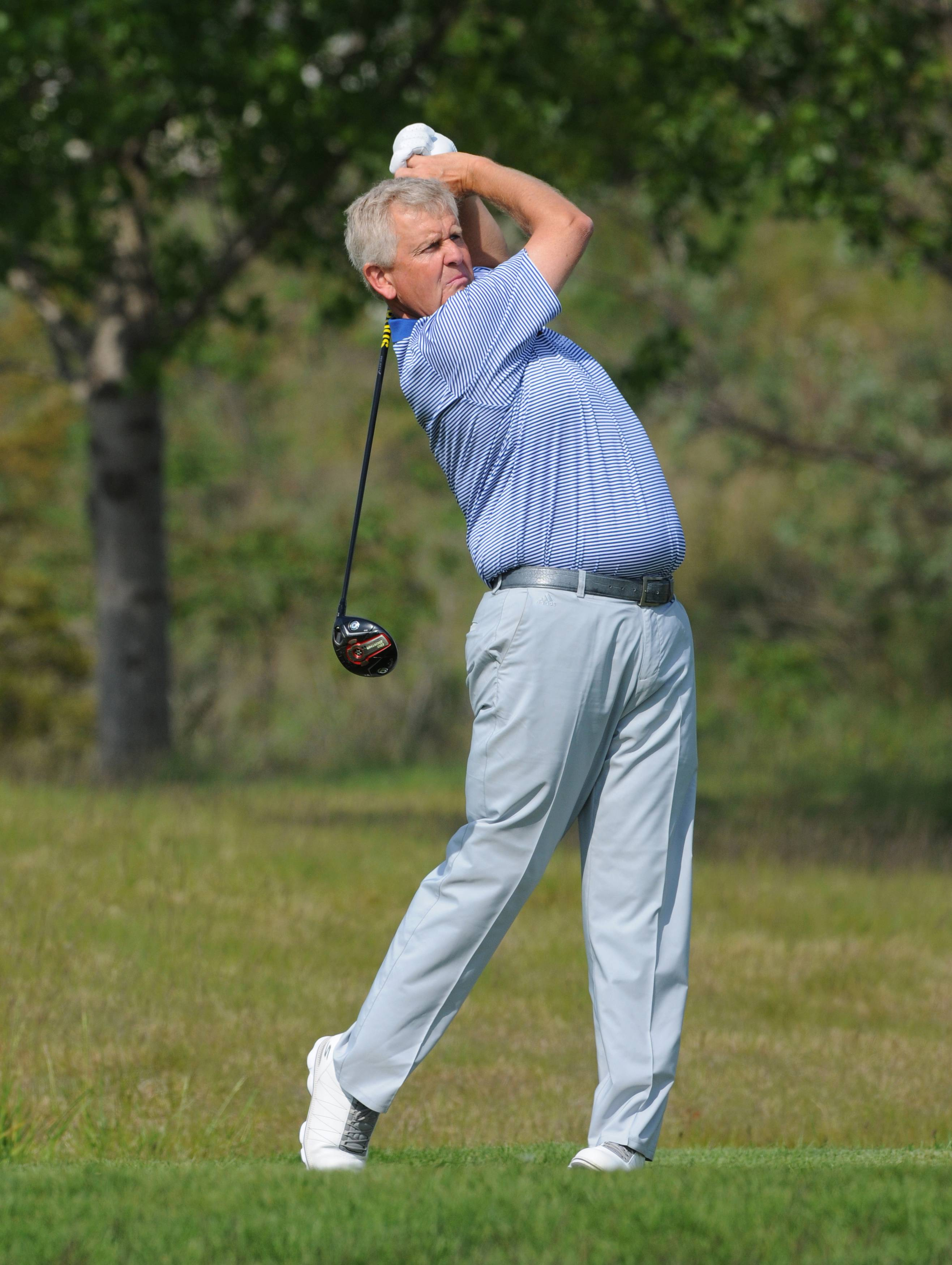Colin Montgomerie is seeking his third straight Senior PGA Championship title. The tournament is hosted by The Golf Club at Harbor Shores in Benton Harbor, Mich.