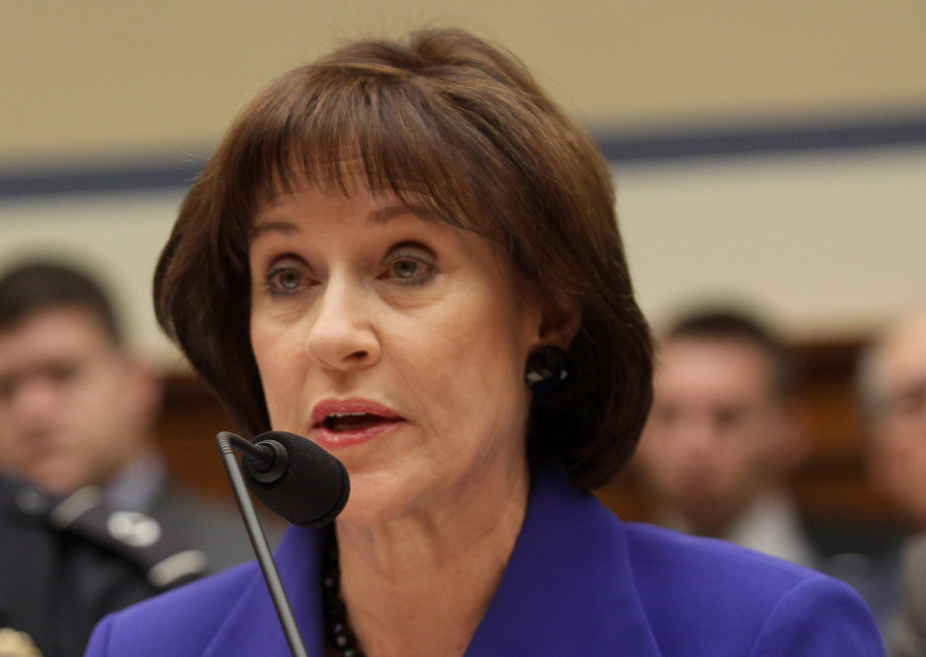 Former Internal Revenue Service (IRS) official Lois Lerner speaks on Capitol Hill in Washington.