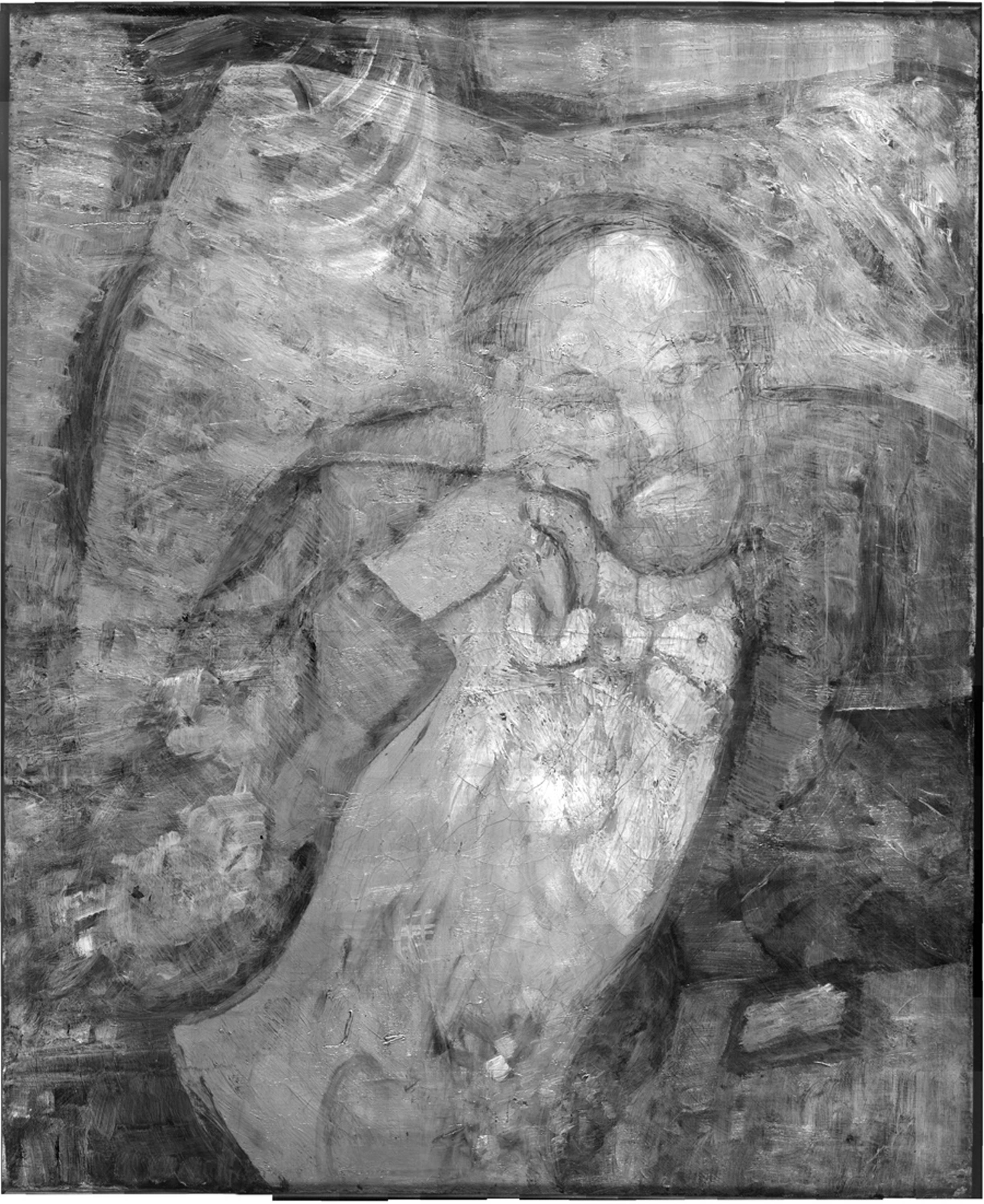 "An infrared image of Pablo Picasso's ""The Blue Room,"" painted in 1901. Scientists and art experts have found a hidden painting beneath the painting revealing a bow-tied man with his face resting on his hand, with three rings on his fingers."
