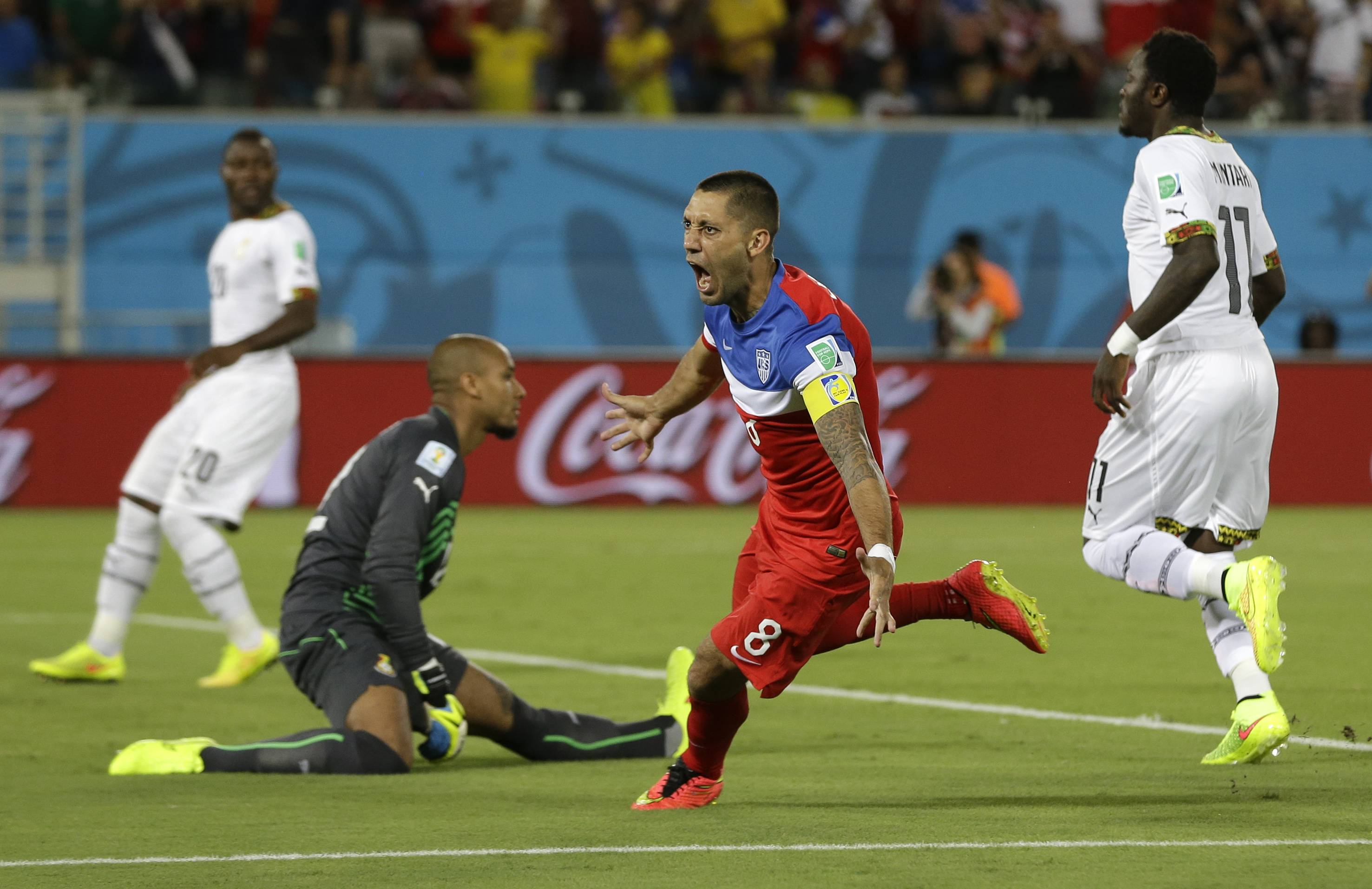 The United States' Clint Dempsey celebrates after scoring the opening goal in Monday night's World Cup match against Ghana in Natal, Brazil. The Americans won 2-1.