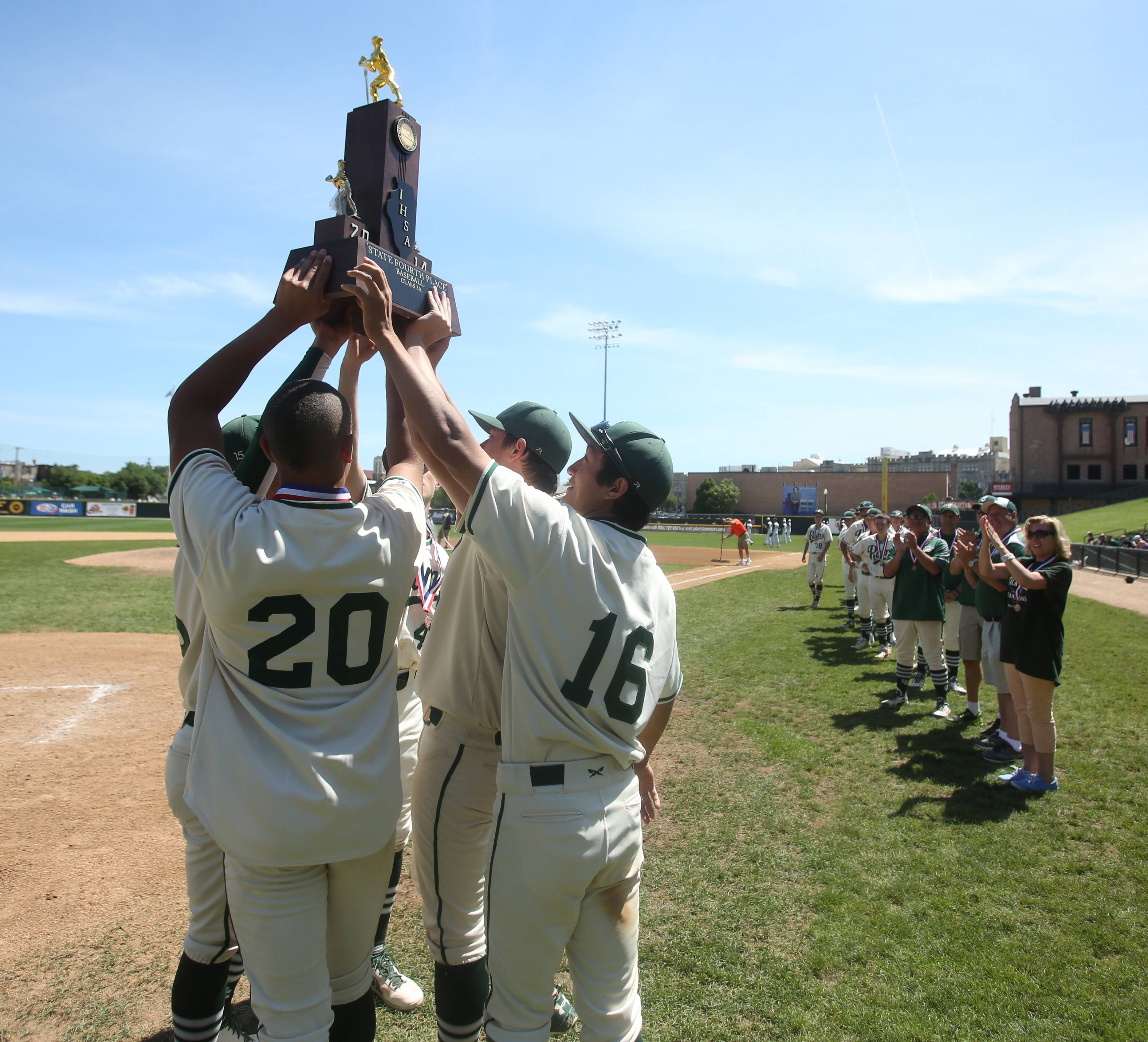 Grayslake Central players earned a fourth place finish in  Class 3A state baseball at Silver Cross Field in Joliet.