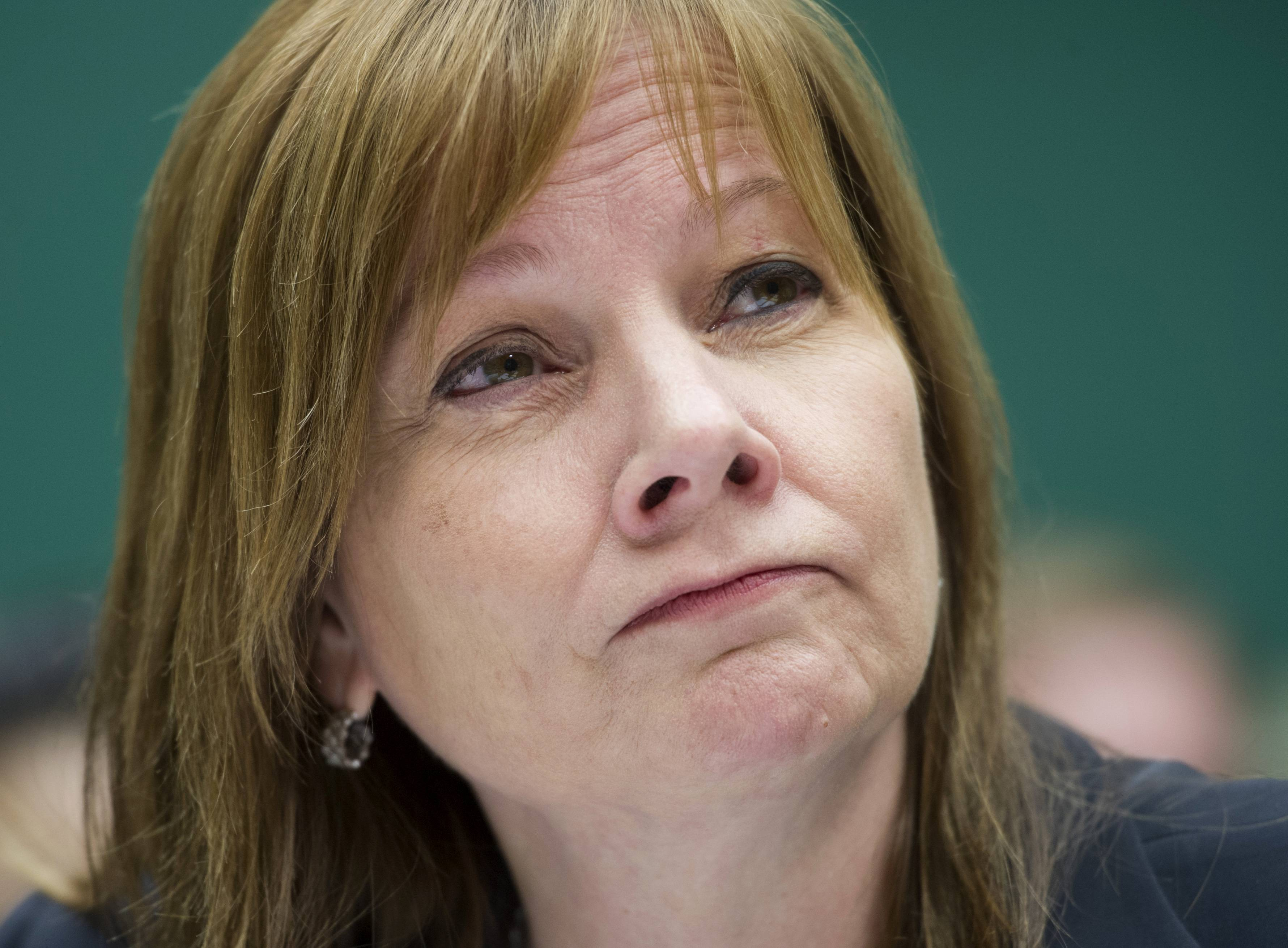 General Motors CEO Mary Barra listens as she testifies Wednesday on Capitol Hill in Washington before the House Oversight and Investigations subcommittee.