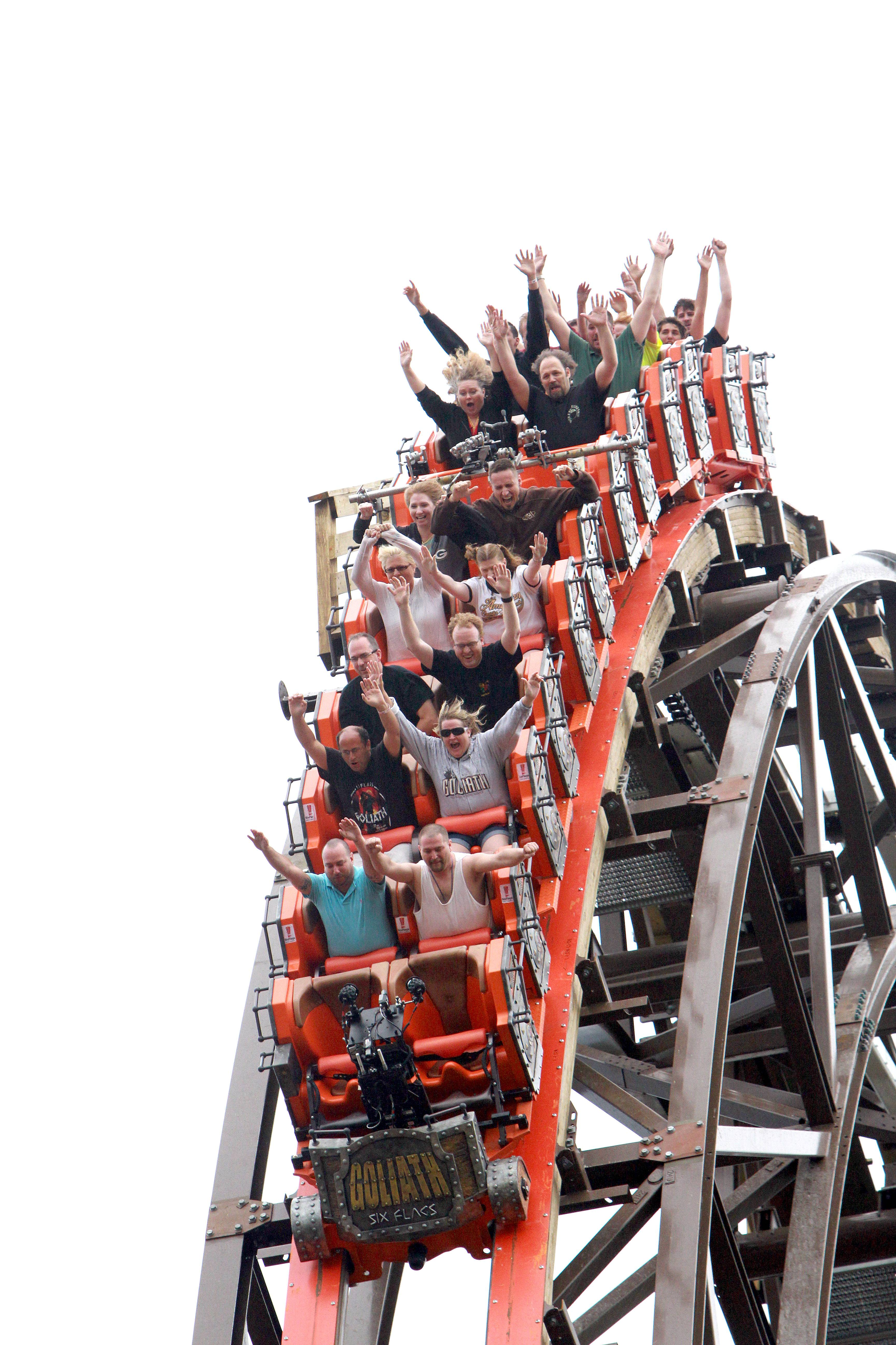 Riders brave the first drop for Goliath during a special preview Wednesday at Six Flags Great America in Gurnee. The ride opens to the public Thursday.