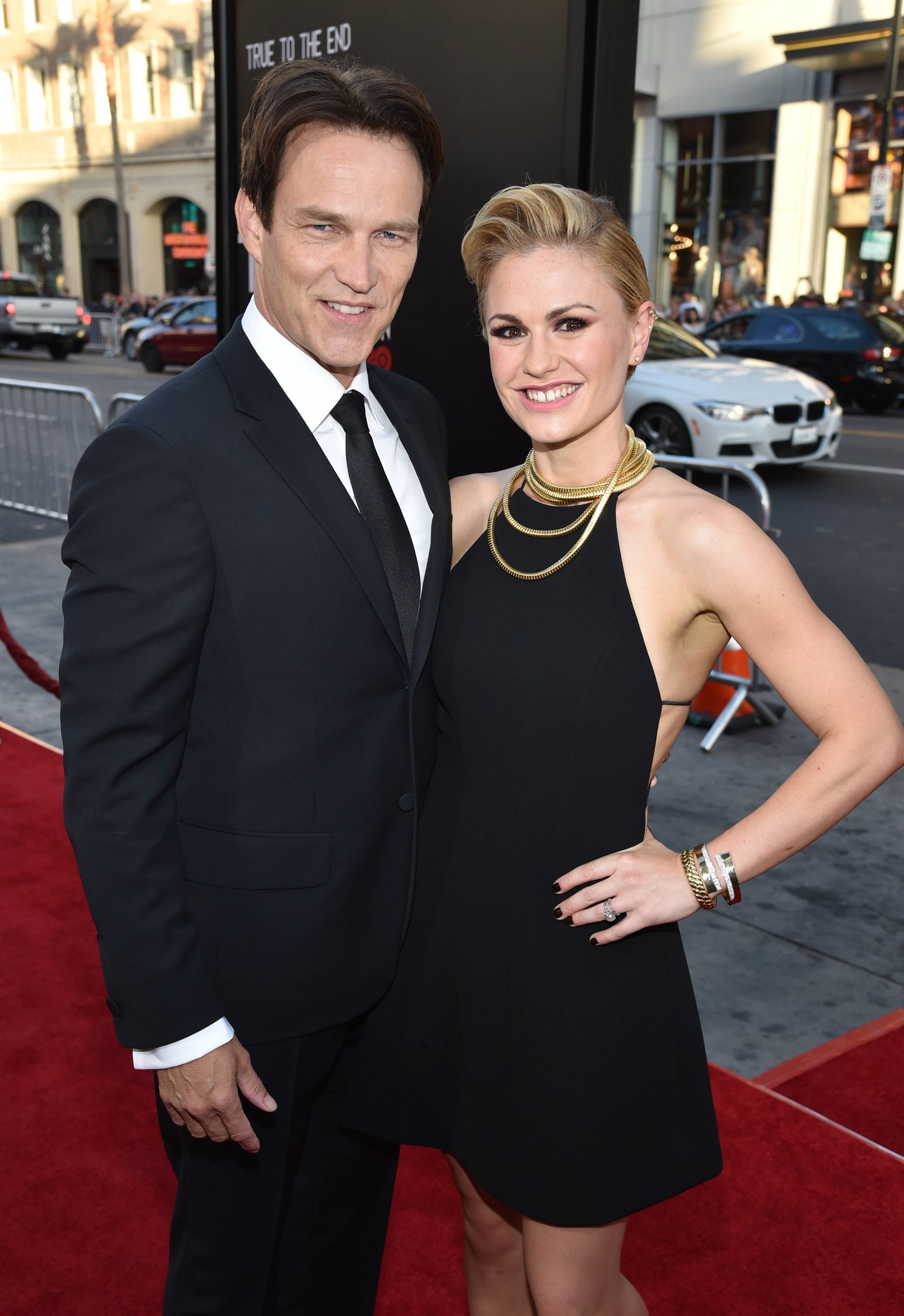 "Stephen Moyer, left, and Anna Paquin arrive at the Los Angeles premiere of the seventh and final season of ""True Blood"" at the TCL Chinese Theatre on Tuesday. ""True Blood"" may live on as a musical in the future."