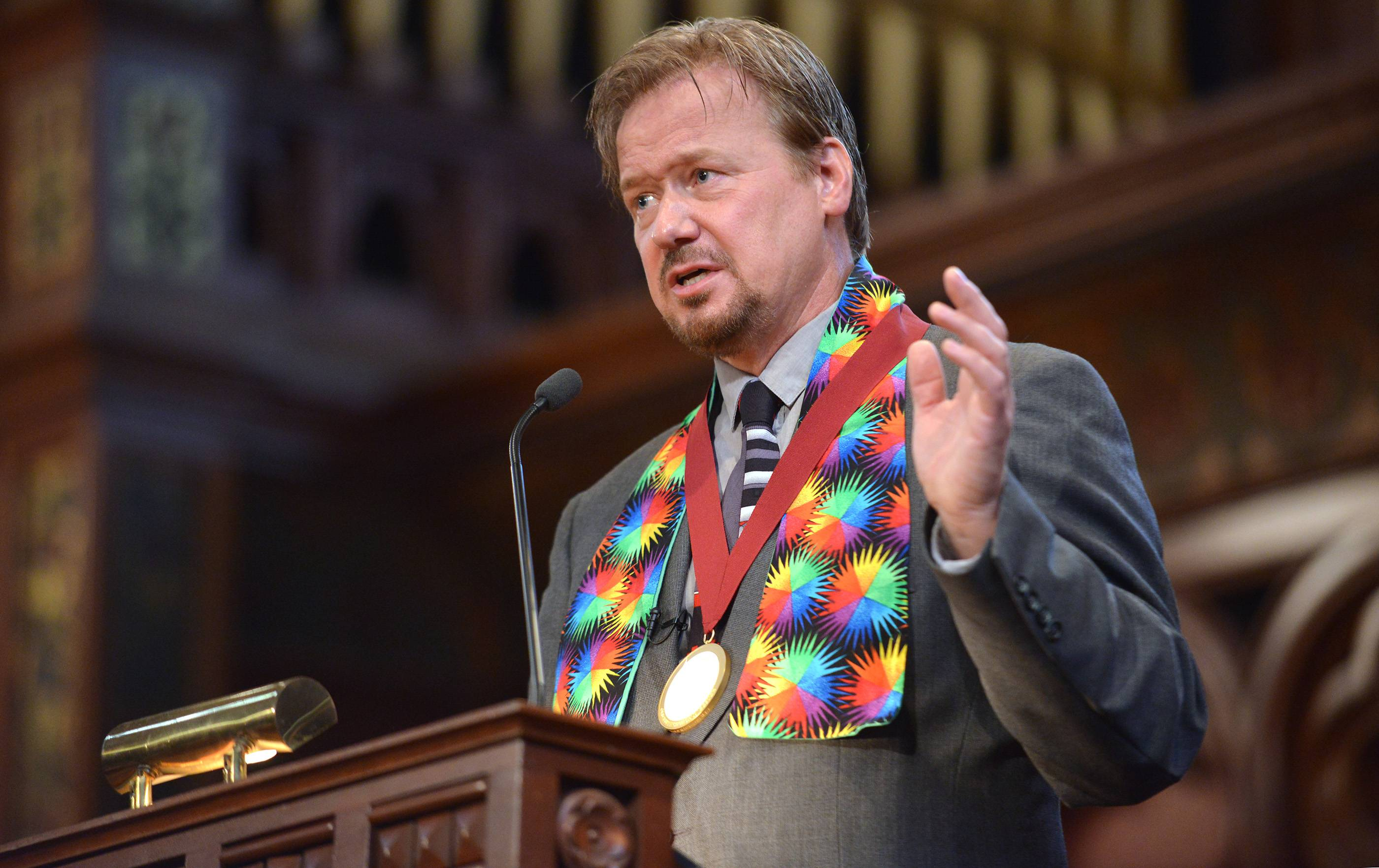 Frank Schaefer lost his job but not his voice. Defrocked by the United Methodist Church six months ago for officiating his son's same-sex wedding, He's told his story dozens of times to largely sympathetic audiences around the country.