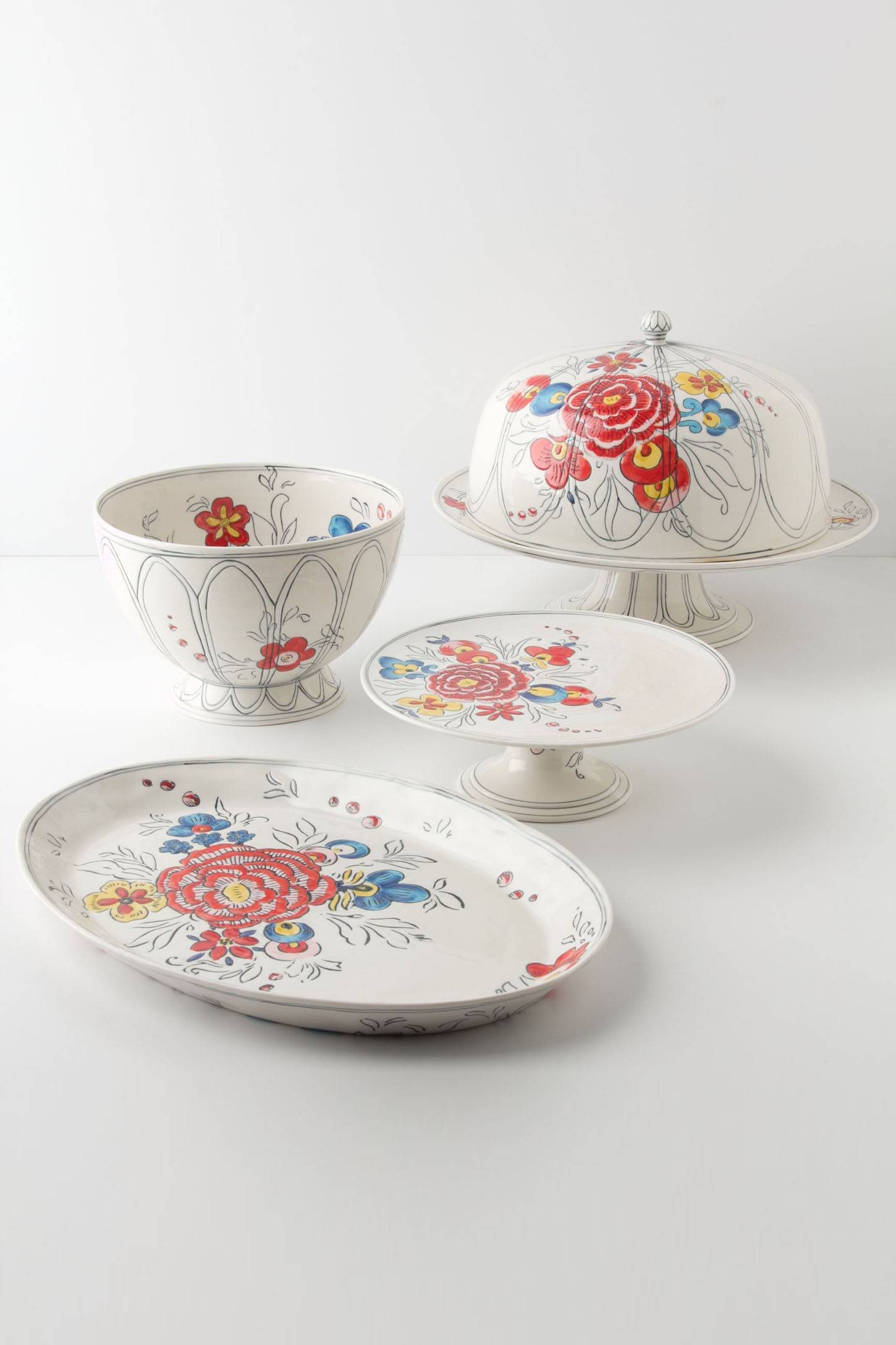The Peony Portrait collection was designed by Molly Hatch for sale at Anthropologie stores nationwide. Hatch is a fine artist who has found a second career in product design after completing a residency program at Kohler Co. in Wisconsin.