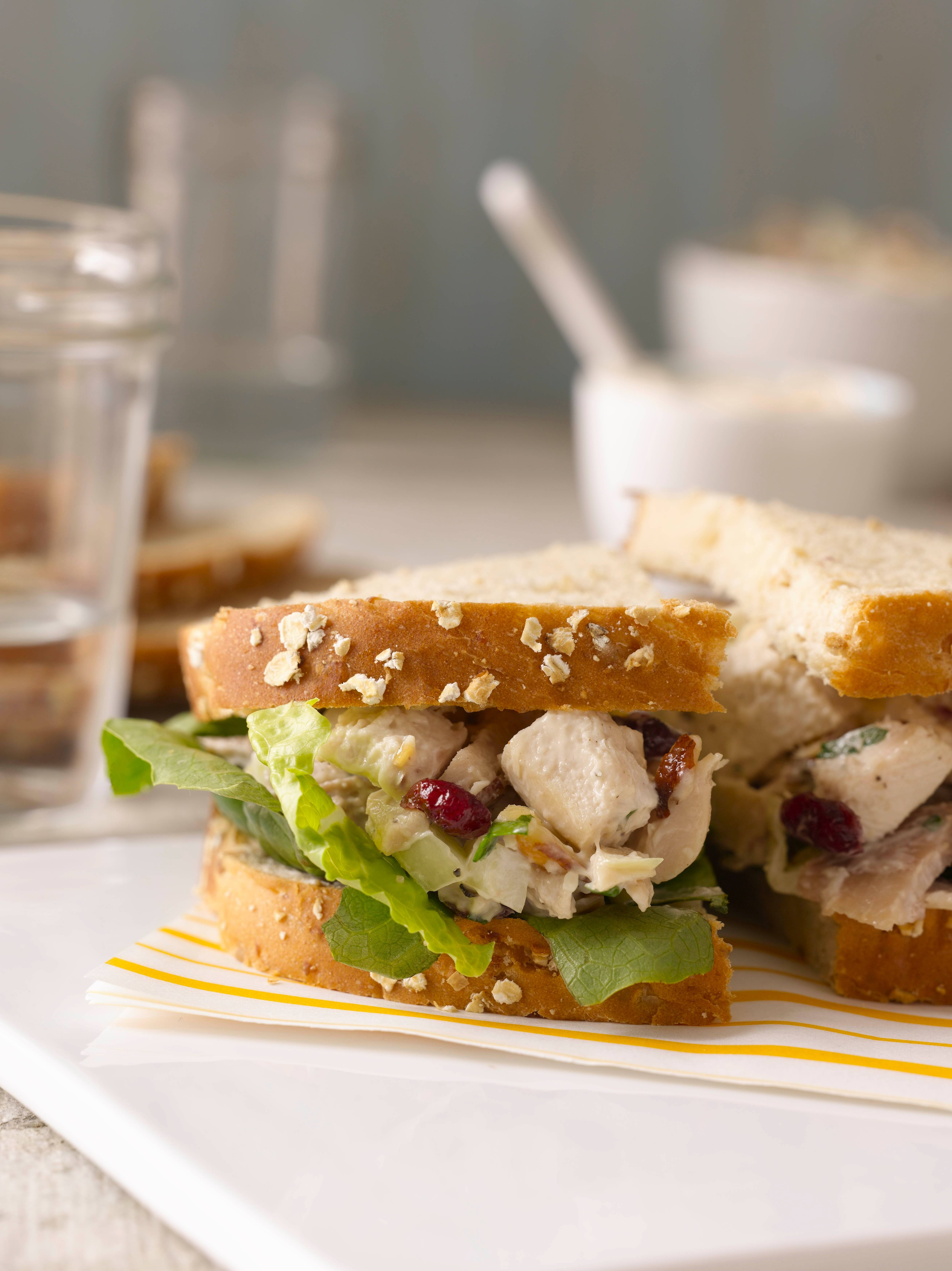 "In her new book, ""Lunch,"" Gale Gand shares several takes on chicken salad, like this one with dried cranberries and almonds."