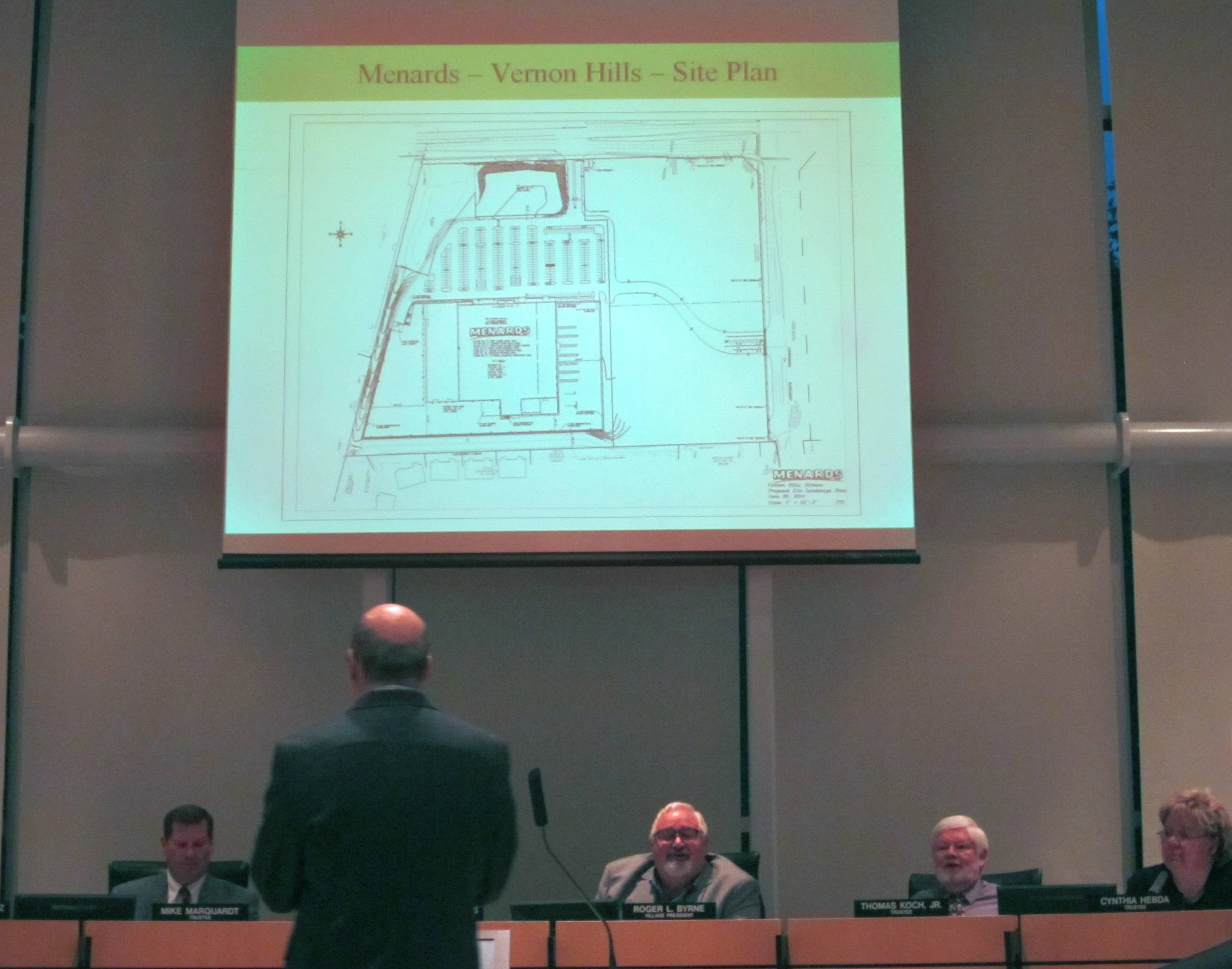 The Vernon Hills village board listens to public input Tuesday regarding a proposed Menards home improvement store.