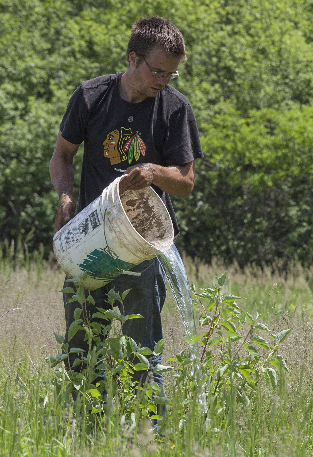 Dan Dennett was one of 23 volunteers who planted 160 trees and shrubs on a portion of Libertyville Township Open Space.