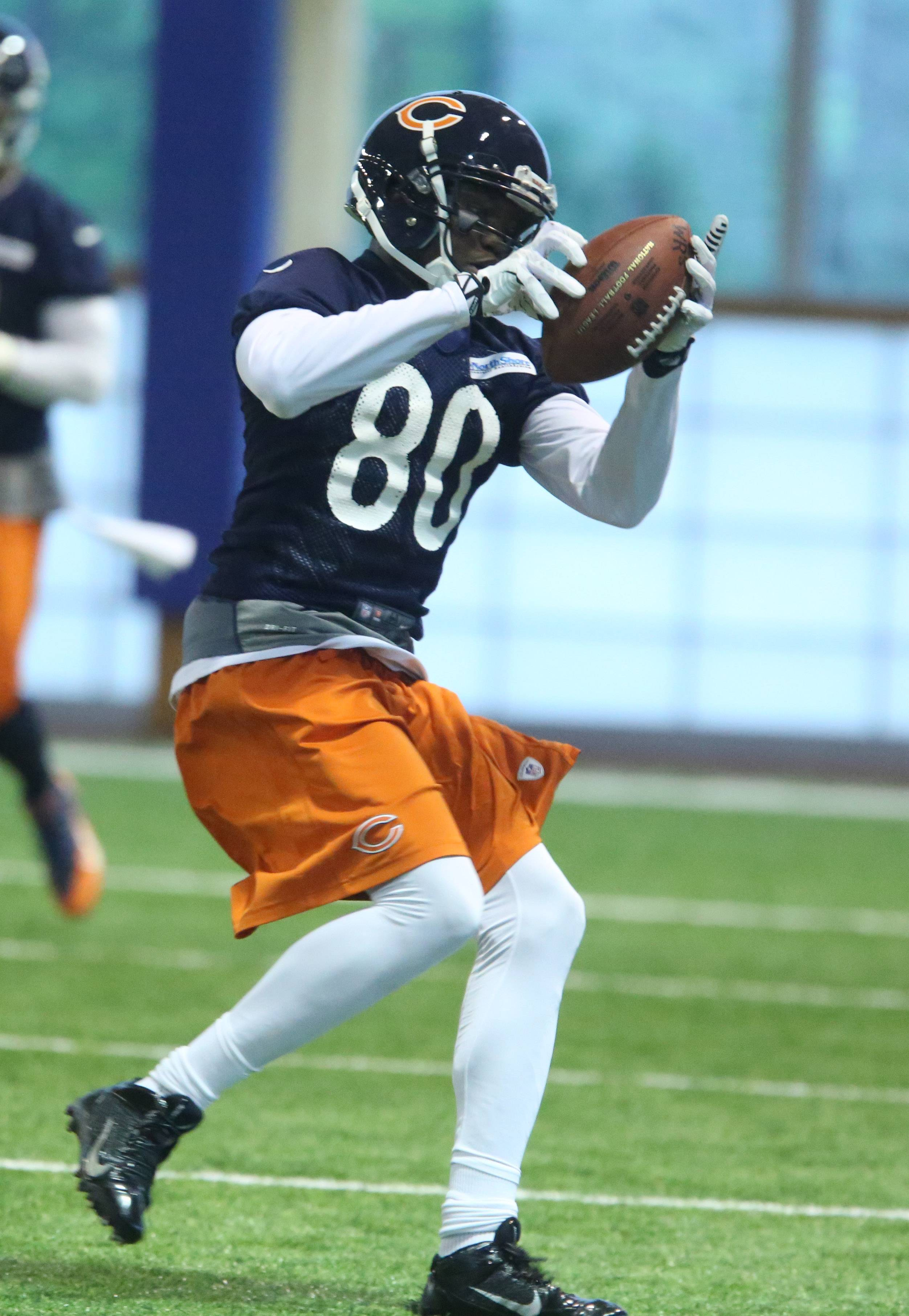 Wide receiver Armanti Edwards is one of four contenders for special teams kick return duty with the Bears. Edwards returned punts for Cleveland and Carolina.
