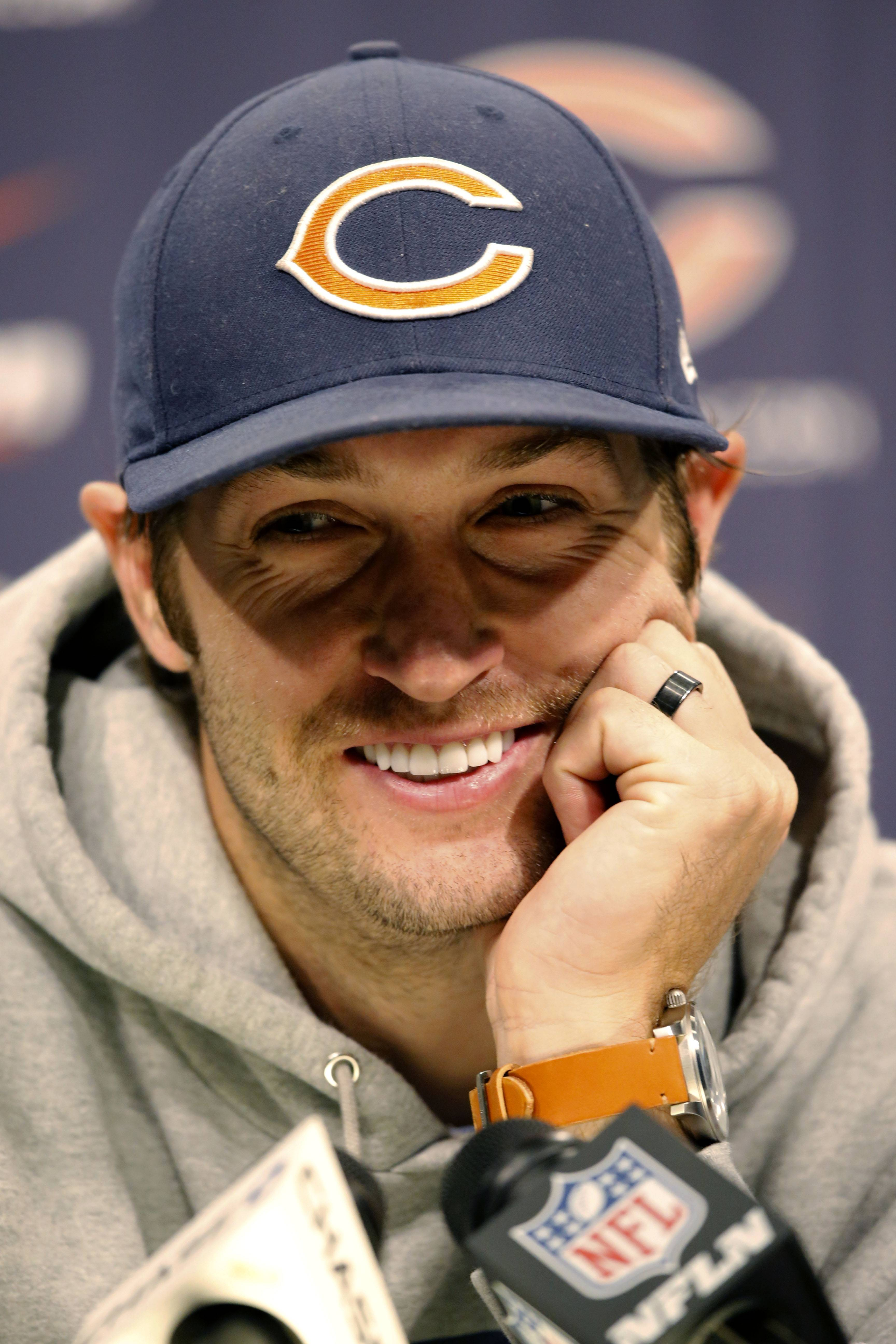 Bears quarterback Jay Cutler reacts to a question during a news conference after minicamp Tuesday in Lake Forest.