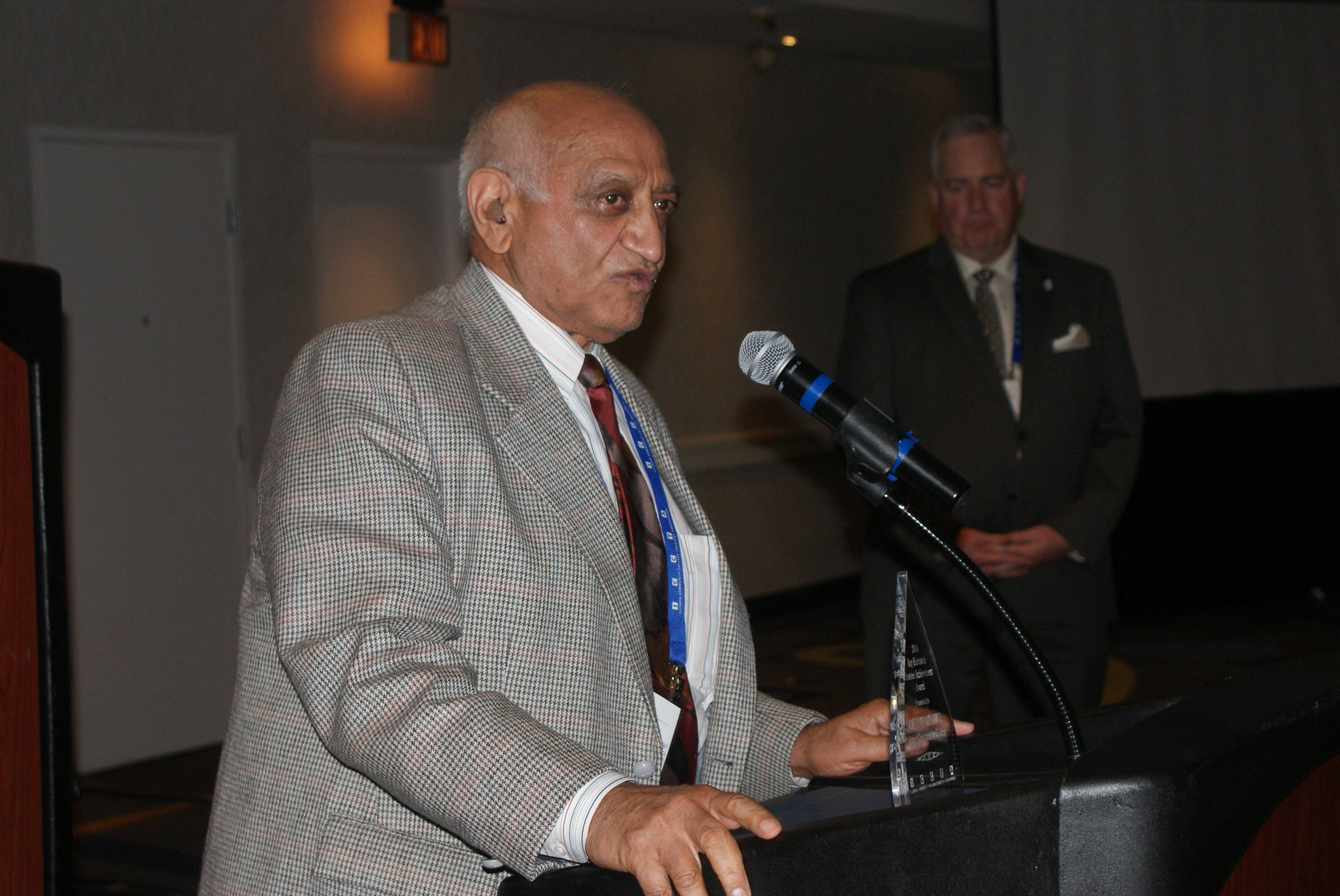 Oakton Community College Trustee Jody Wadhwa, recipient of the 2014 Ray Hartstein Trustee Achievement Award from the The Illinois Community College Trustees Association.