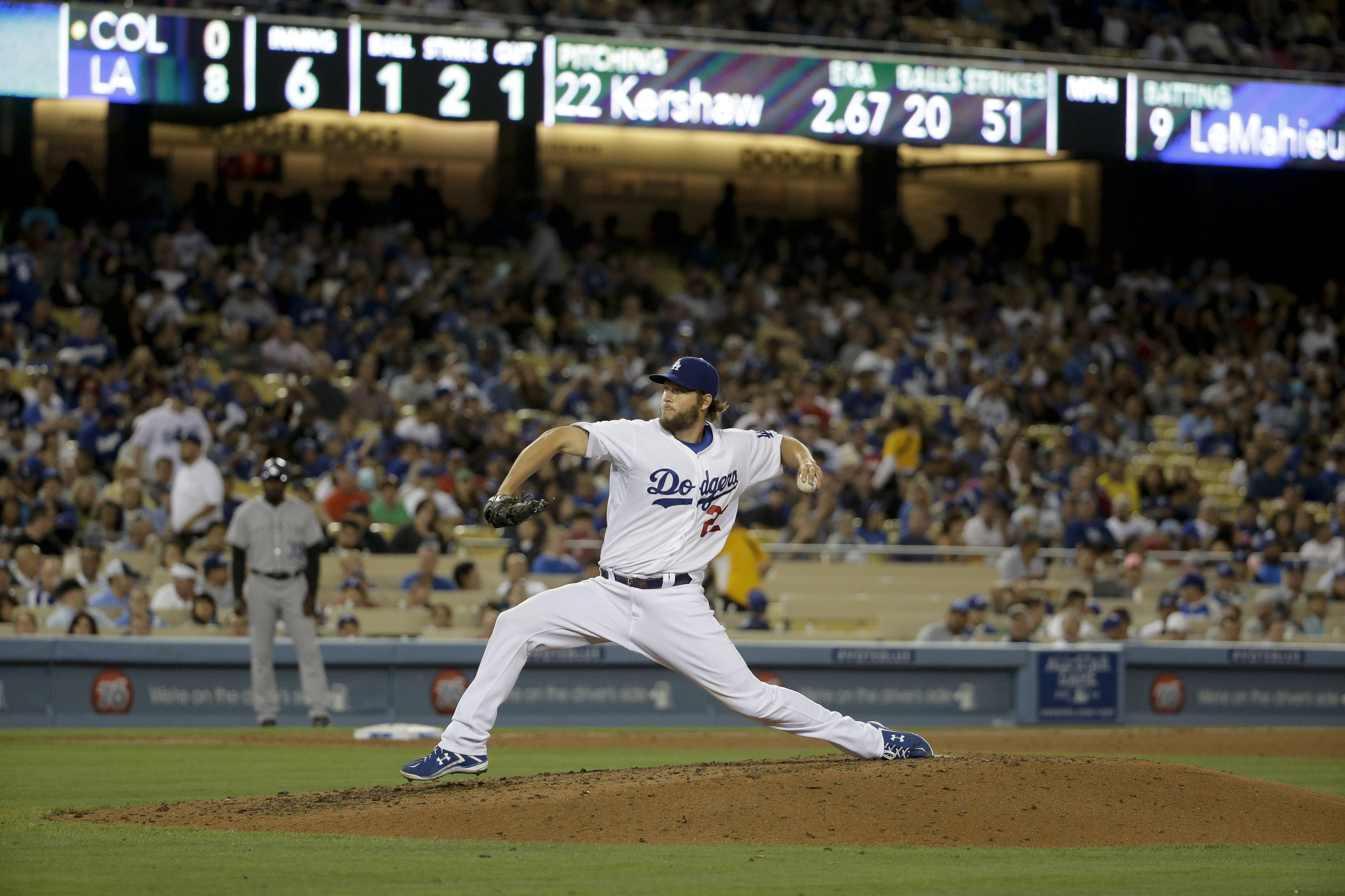 "Clayton Kershaw pitched his first no-hitter Wednesday night, striking out a career-high 15 and allowing his only baserunner on a throwing error by shortstop Hanley Ramirez in the Los Angeles Dodgers' 8-0 victory over the Colorado Rockies. Kershaw's gem gave the Dodgers the only two no-hitters in the majors this season. Josh Beckett tossed one May 25 in Philadelphia. ""I am so amazed,"" Kershaw said. ""Beckett told me he was going to teach me how to do that, so I have Josh to thank."""