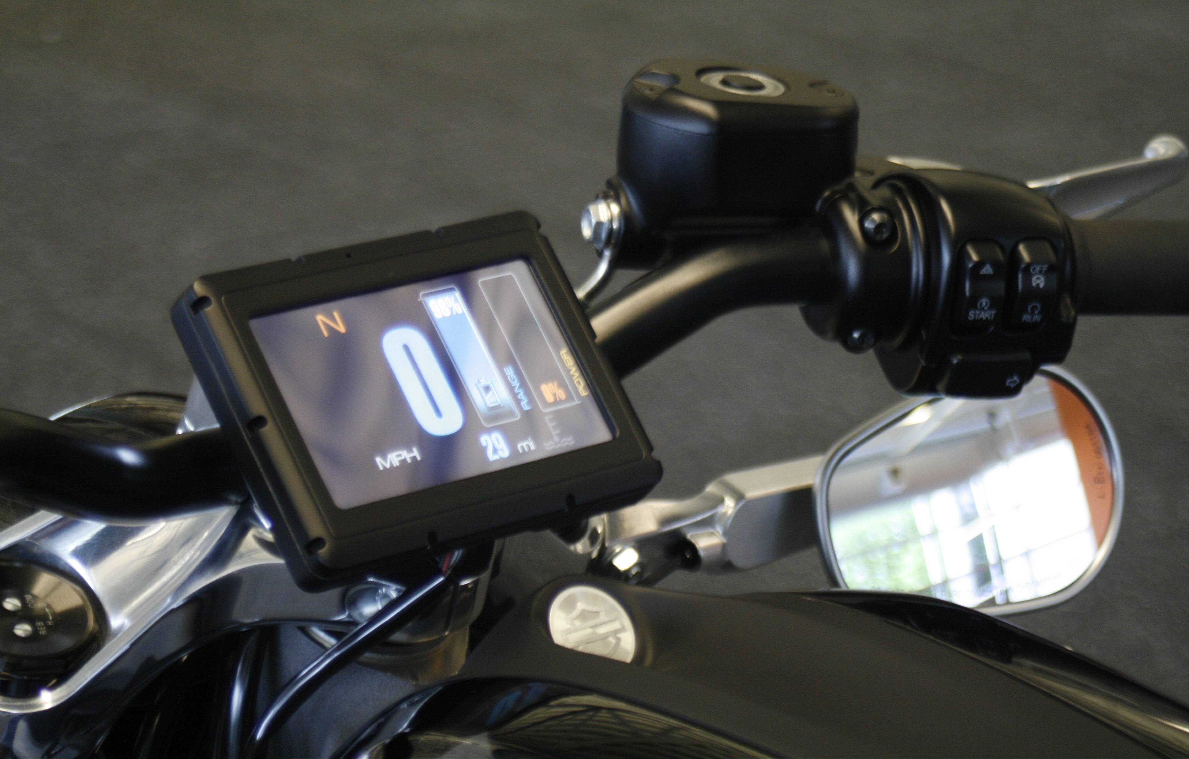 The control screen on Harley-Davidson's new electric motorcycle, the LiveWire.