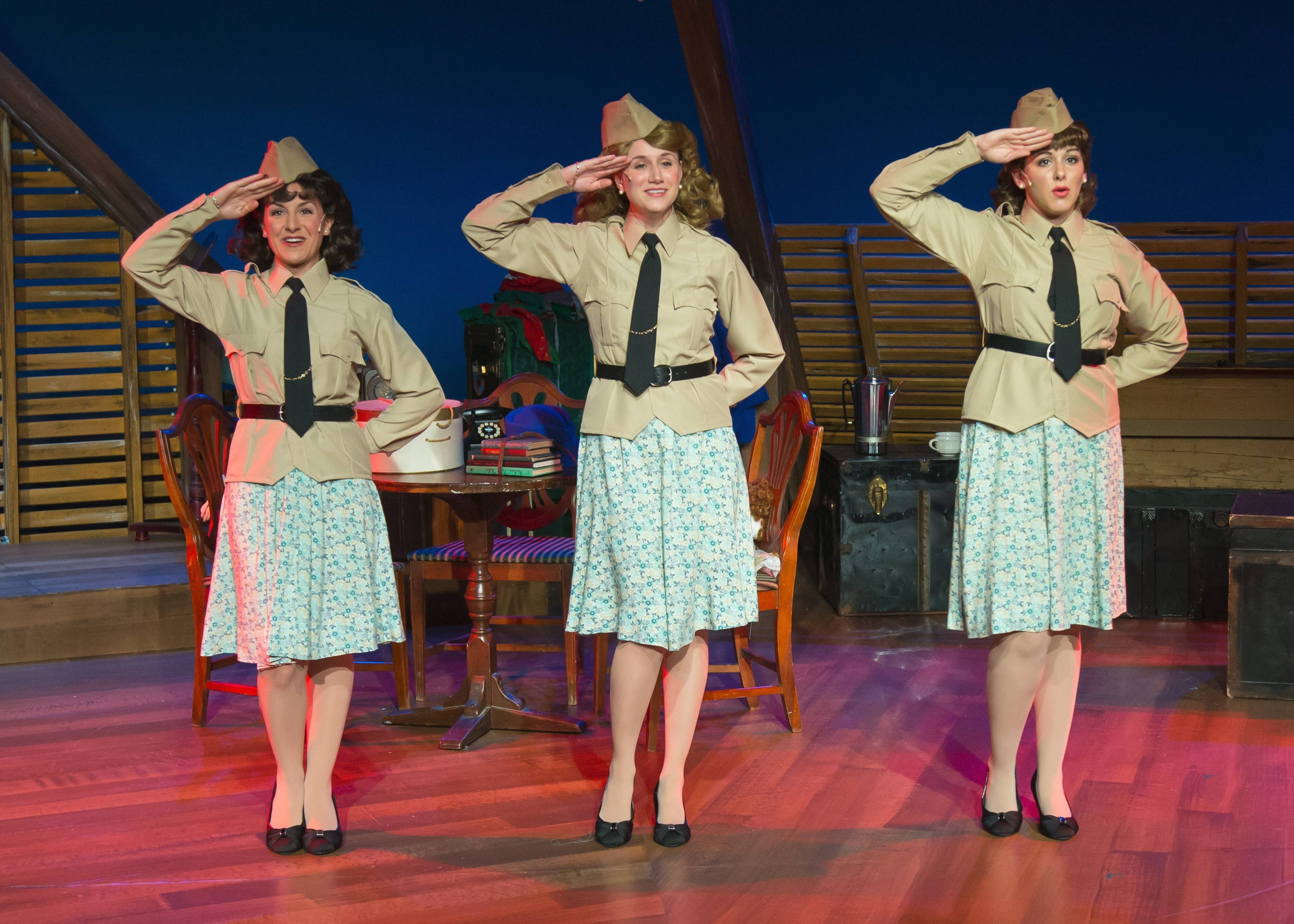 "Katie Cundiff, left, Brittany Stock and Carol Rose play The Andrews Sister, the best-selling sibling trio from the 1930s and 1940s, in Fox Valley Repertory's revival of the bio-musical ""Sisters of Swing."""