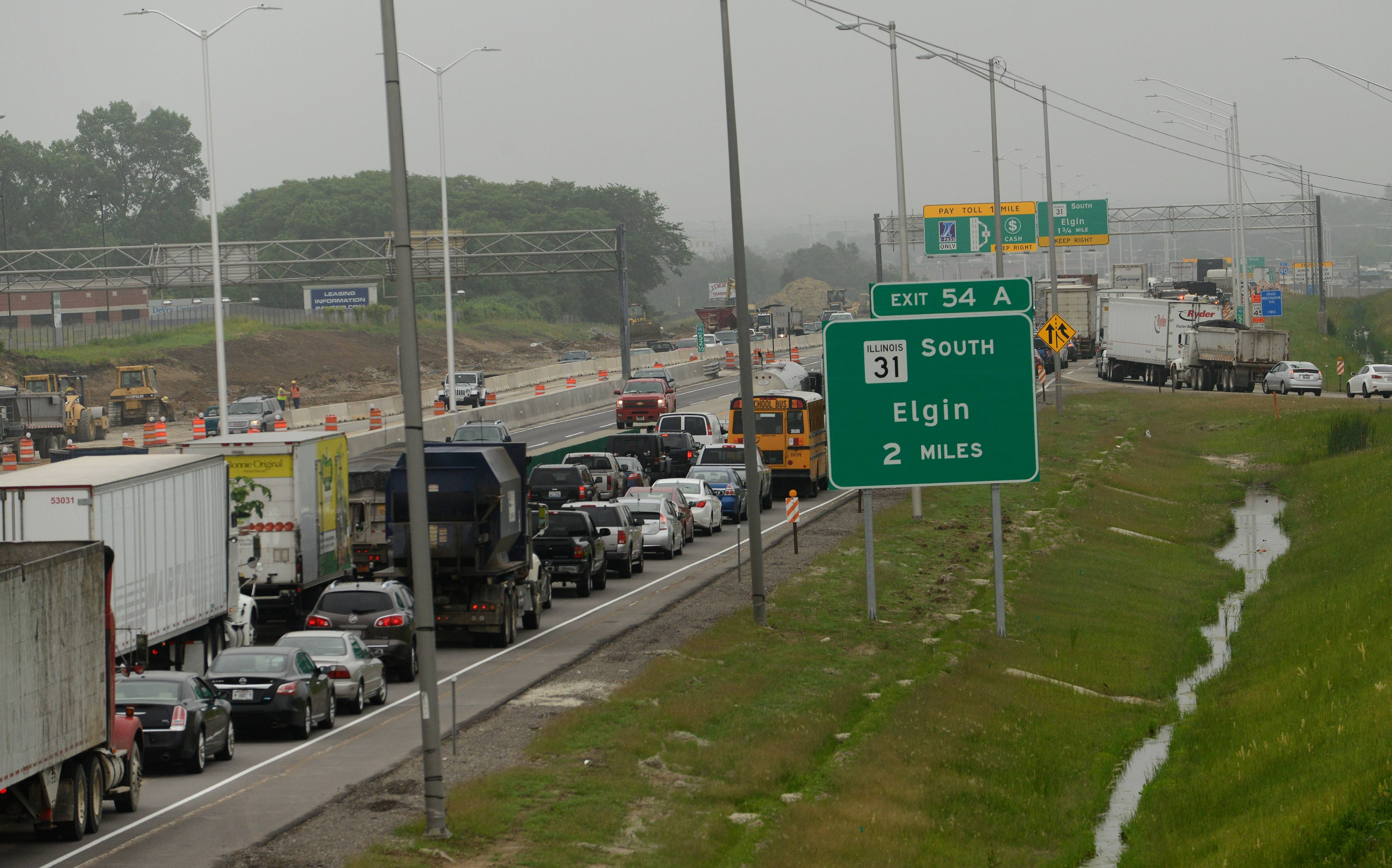 A multivehicle crash Thursday on eastbound Interstate 90 in Elgin backed up traffic between Tyrrell Road and Route 31.