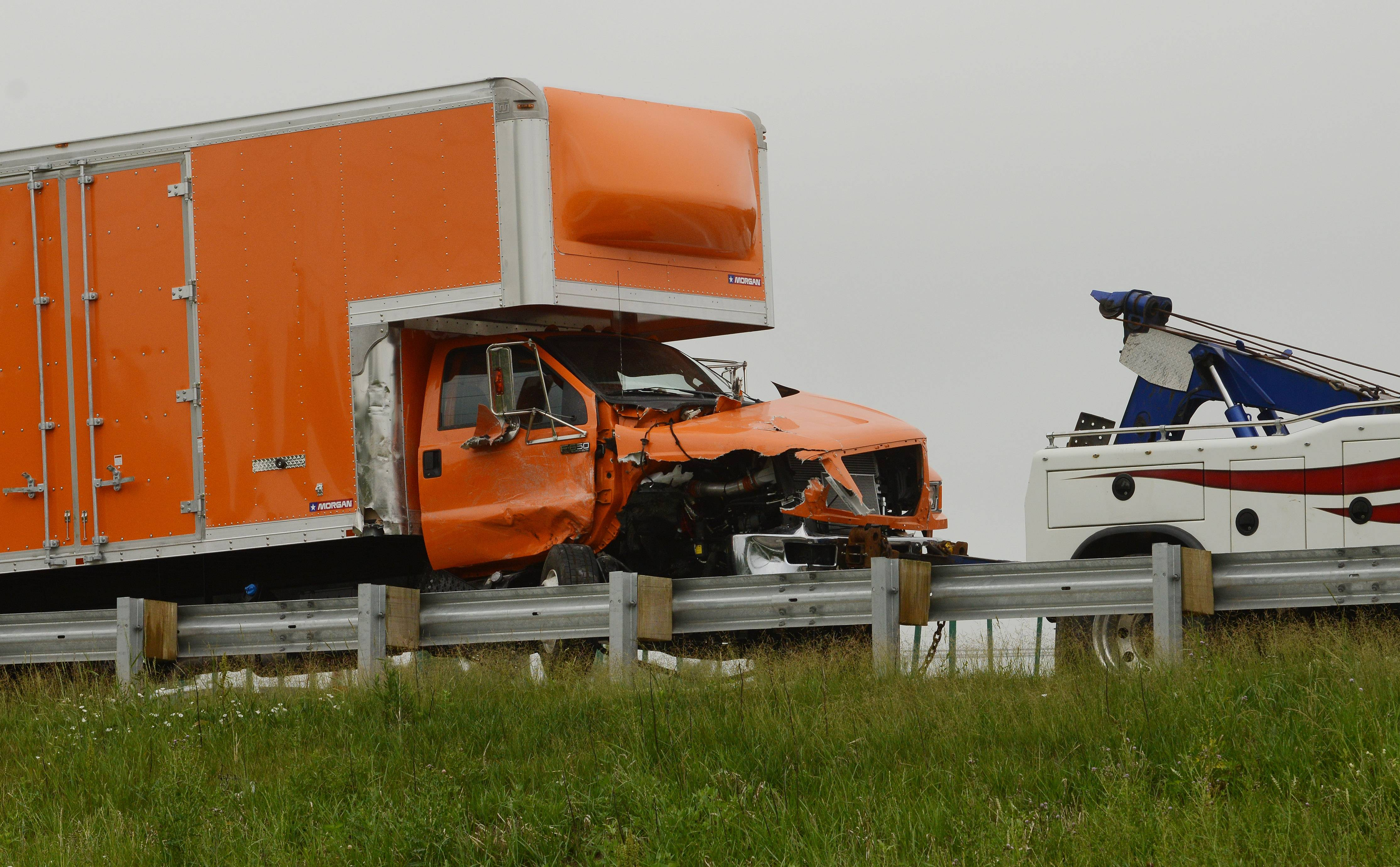 Two semitrailers, a box truck and a sport utility vehicle were involved in a crash Thursday on Interstate 90 in Elgin, the state police said. The crash closed the tollway for about two hours.