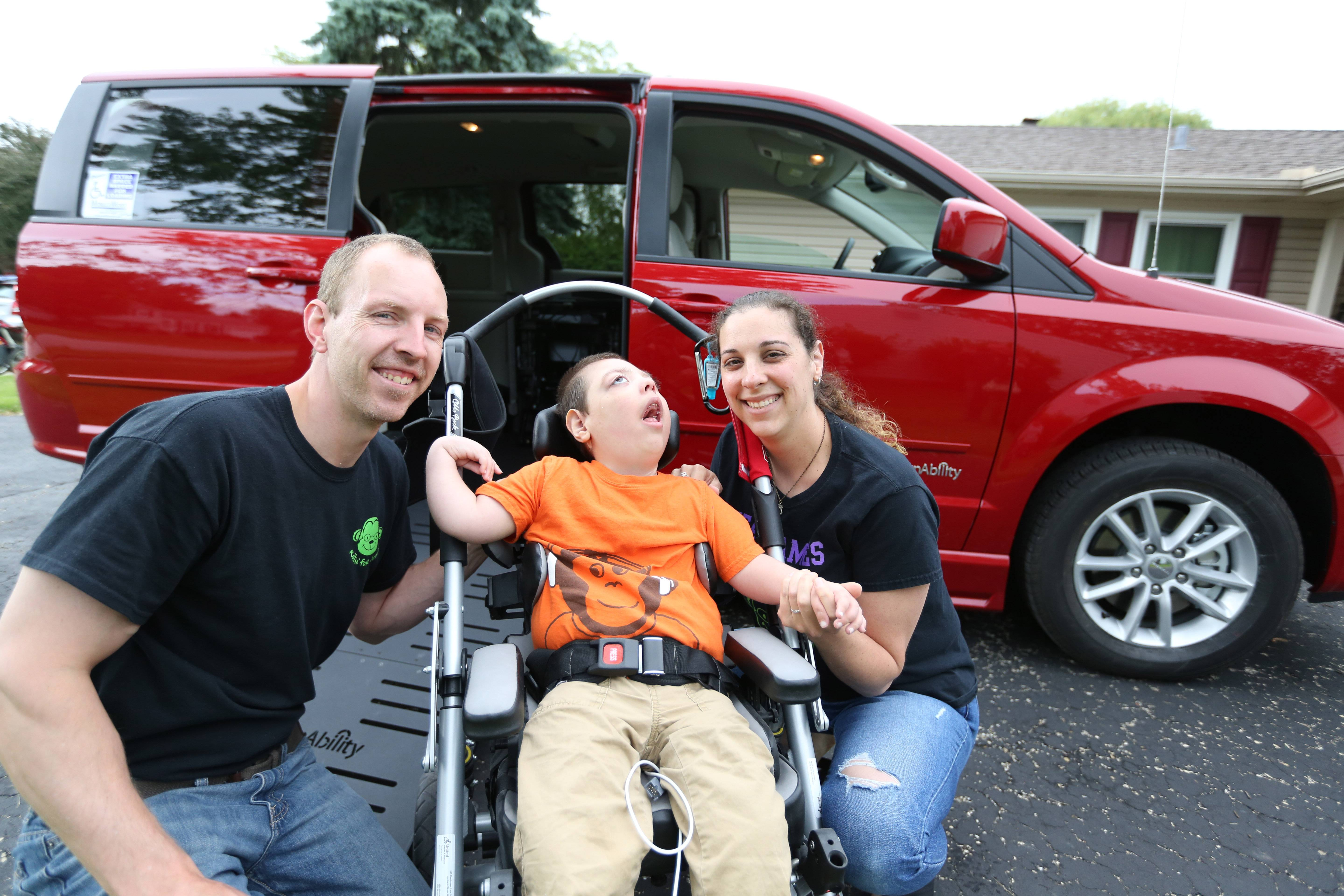 Purchased with proceeds from a fundraiser, this new wheelchair-accessible van makes it easier for Jeff and Stacy Fulkerson of Schaumburg to go places with their son, James.