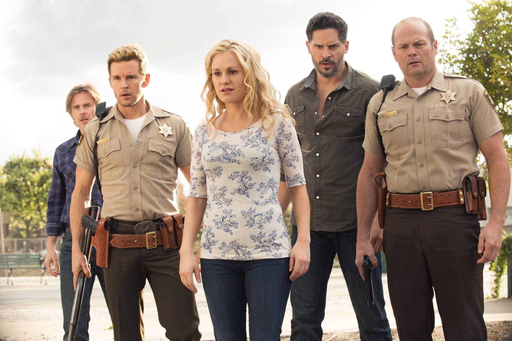 "Sam Merlotte (Sam Trammell), left, Jason Stackhouse (Ryan Kwanten), Sookie Stackhouse (Anna Paquin), Alcide Herveaux (Joe Manganiello) and Andy Bellefleur (Chris Bauer) return Sunday night for the final season of ""True Blood."""