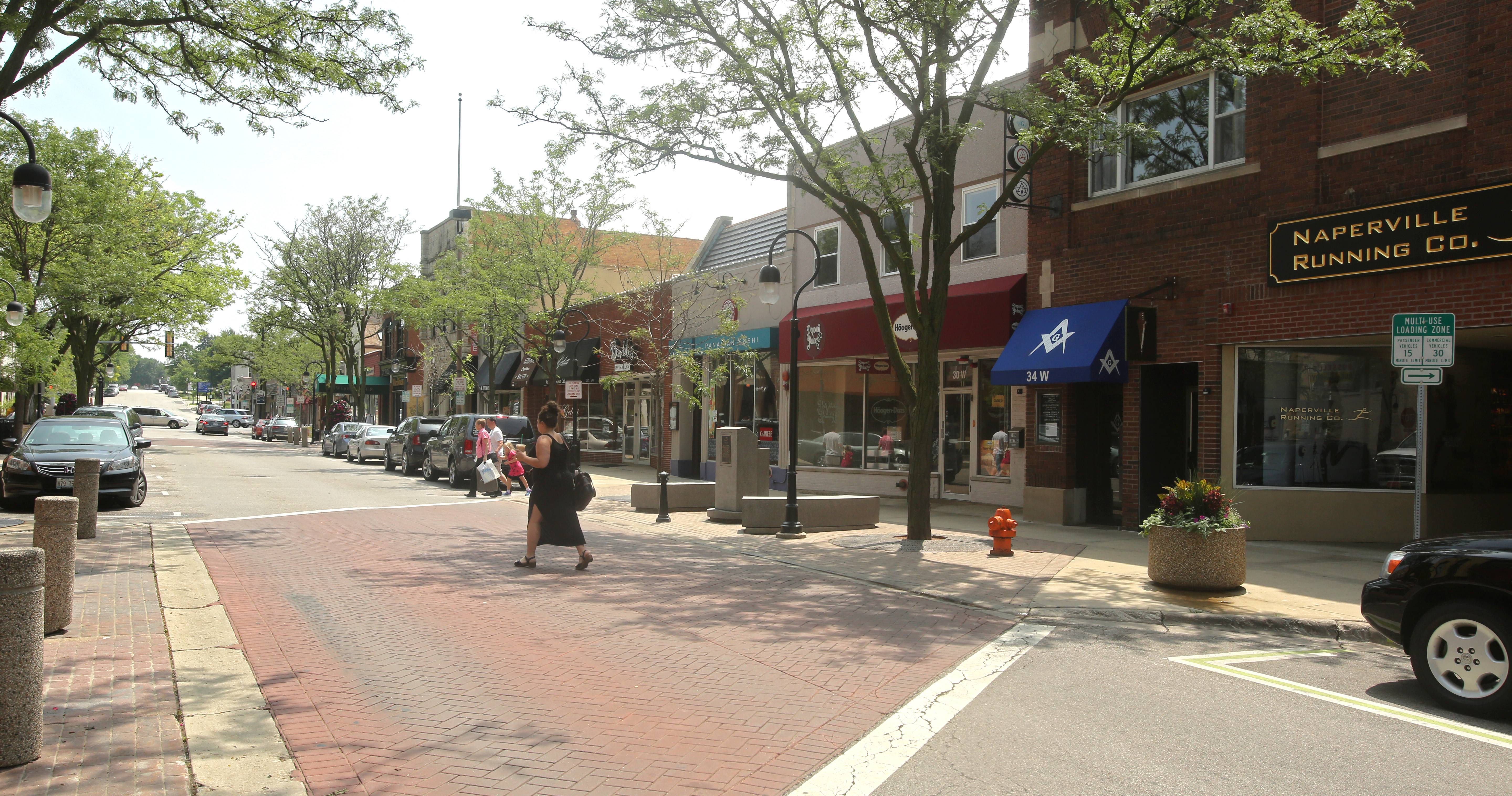Naperville police will evaluate whether closing one-block sections of Jefferson, seen here, and Jackson avenues between Washington and Main streets downtown will help pedestrian safety when bars close.