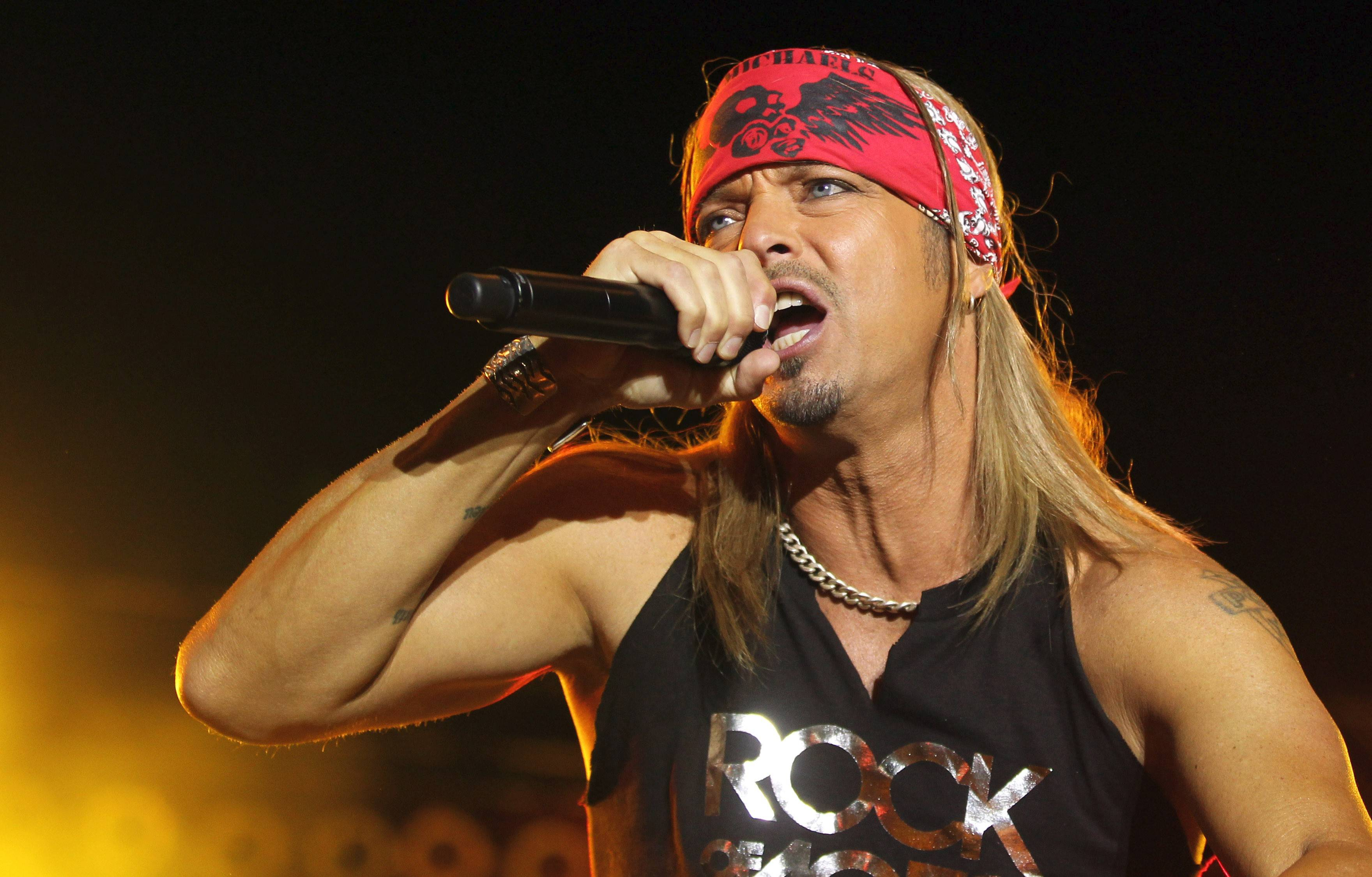 Bret Michaels performs at Grand Victoria Casino's Festival Park in Elgin Sunday.