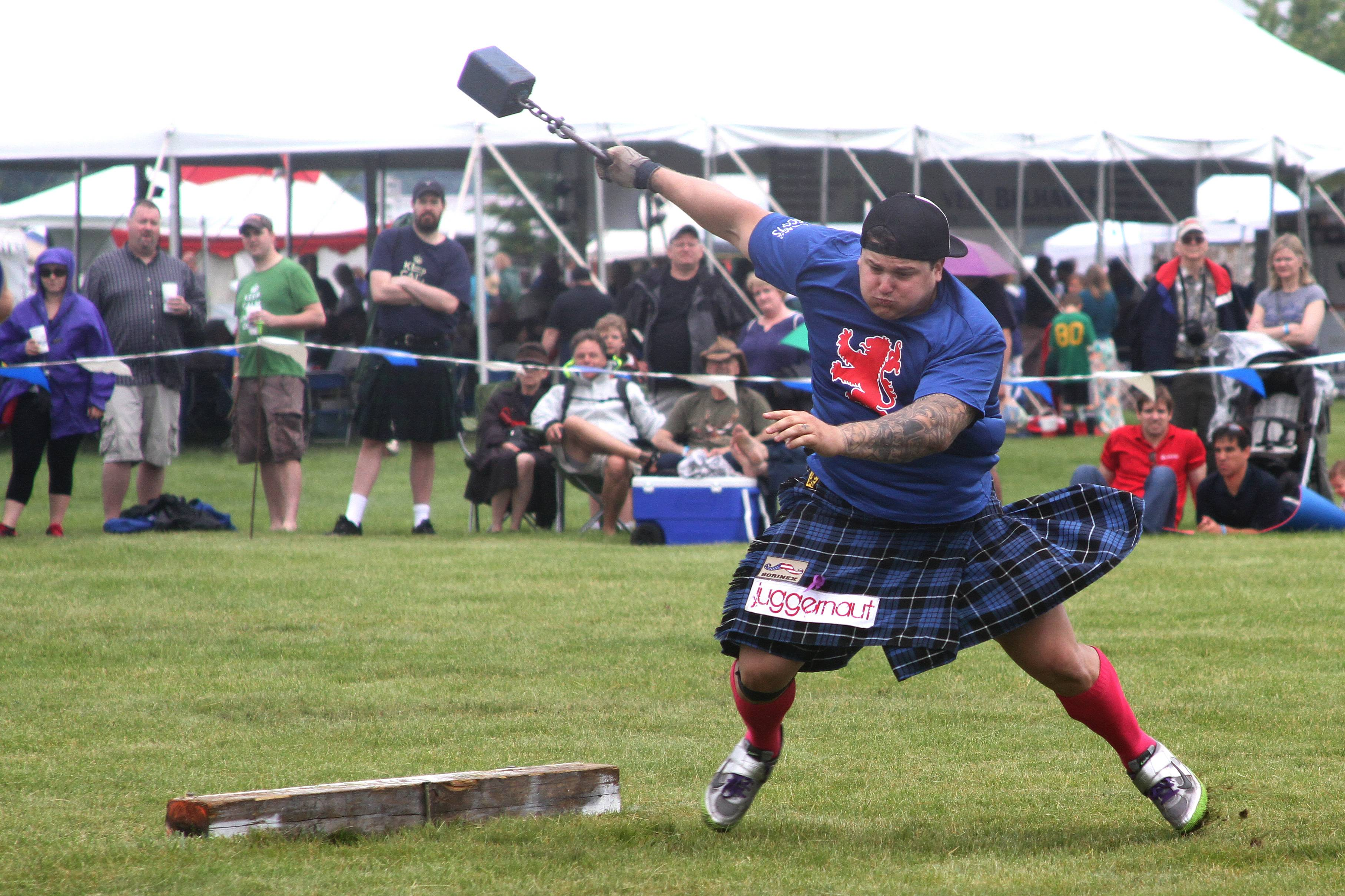 Matt Vincent competes in the 28-pound weight throw for distance at the Scottish Festival and Highland Games in Itasca last year. The 2014 games wrap up today.