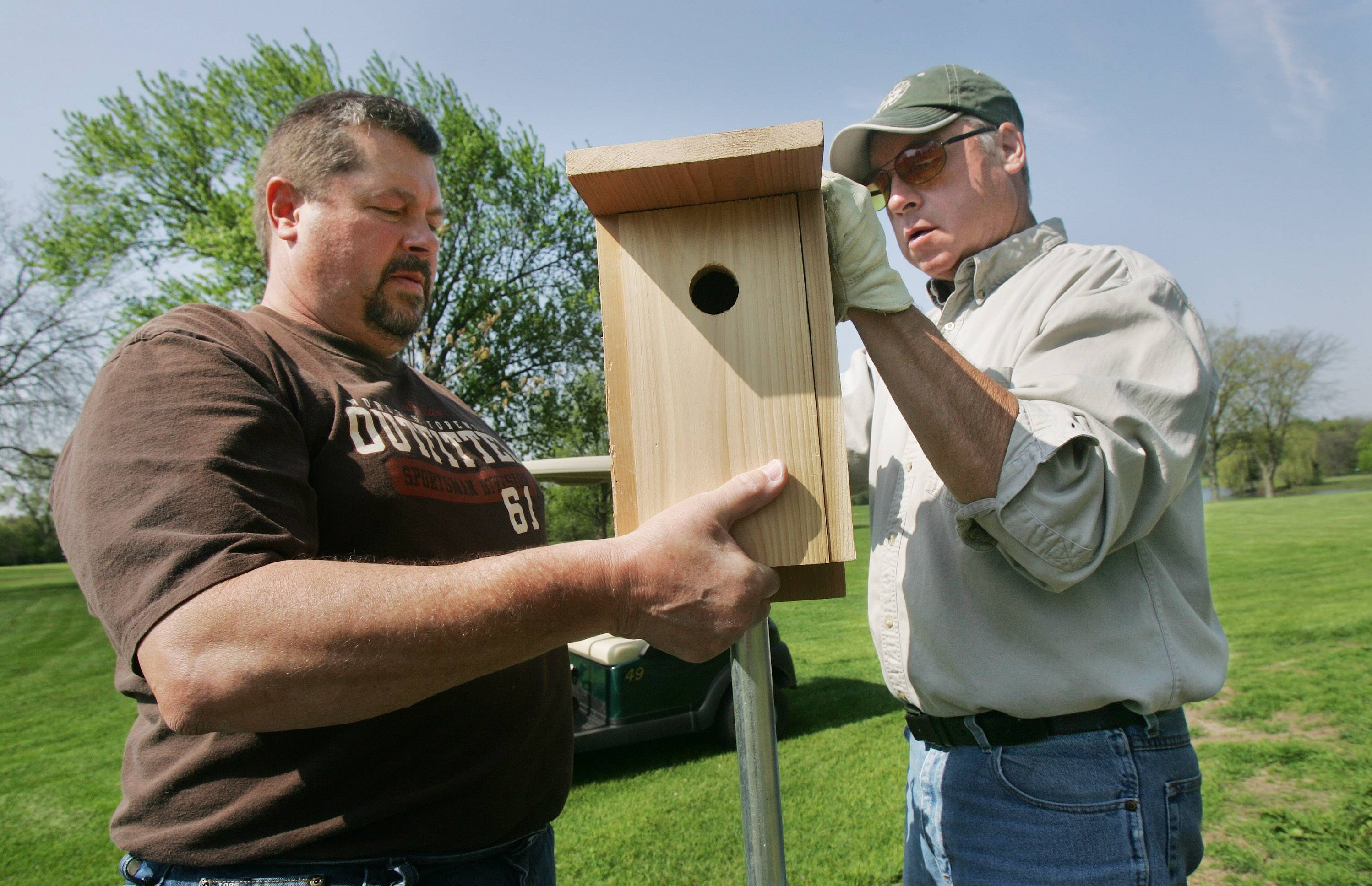 Volunteer coordinator Jack Nowak of Grayslake, right, and his brother, Bill, install a new bluebird box at Brae Loch Golf Course in Grayslake. The brothers monitor the houses keeping track of the bluebirds and their eggs.